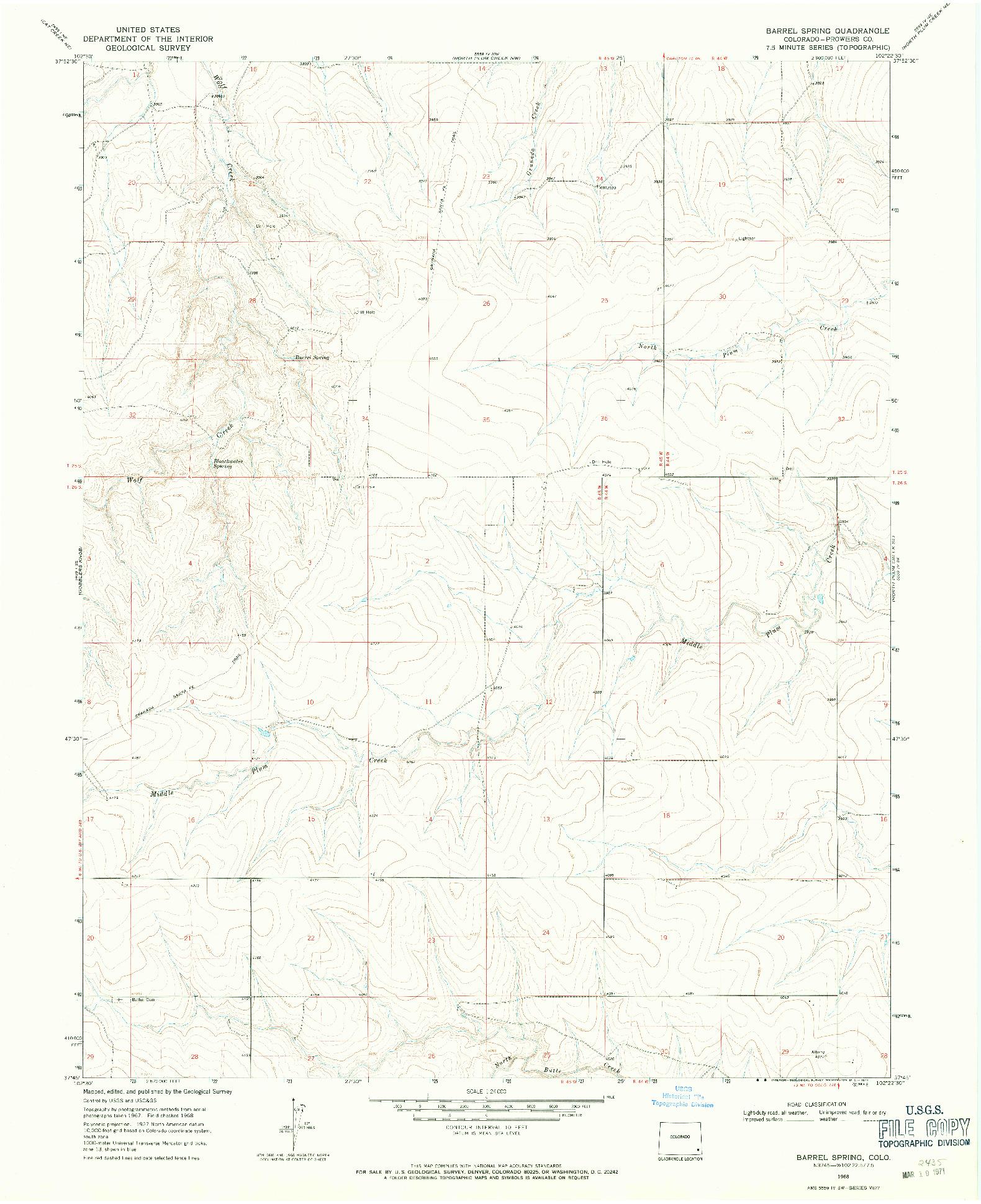 USGS 1:24000-SCALE QUADRANGLE FOR BARREL SPRING, CO 1968