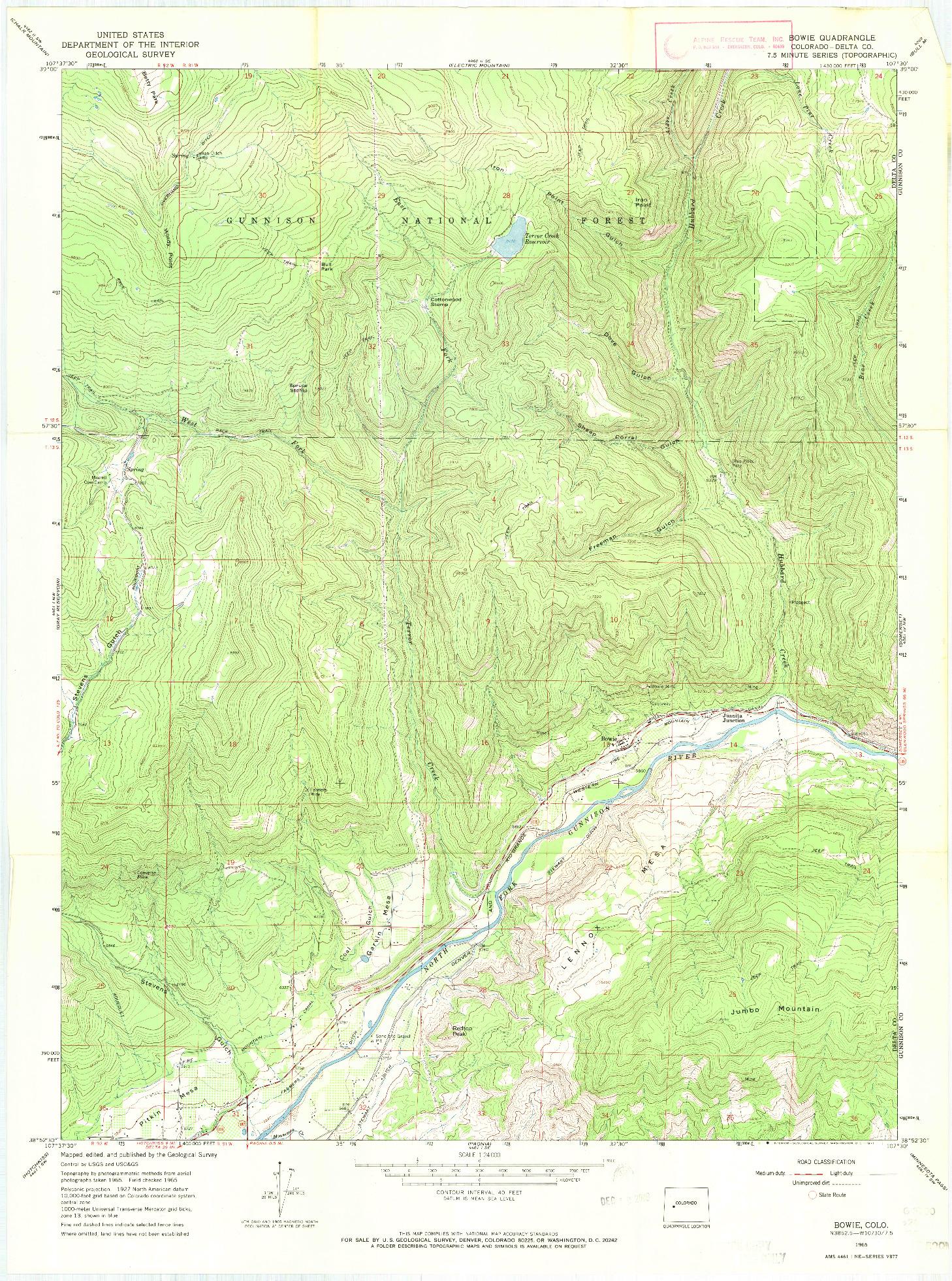 USGS 1:24000-SCALE QUADRANGLE FOR BOWIE, CO 1965