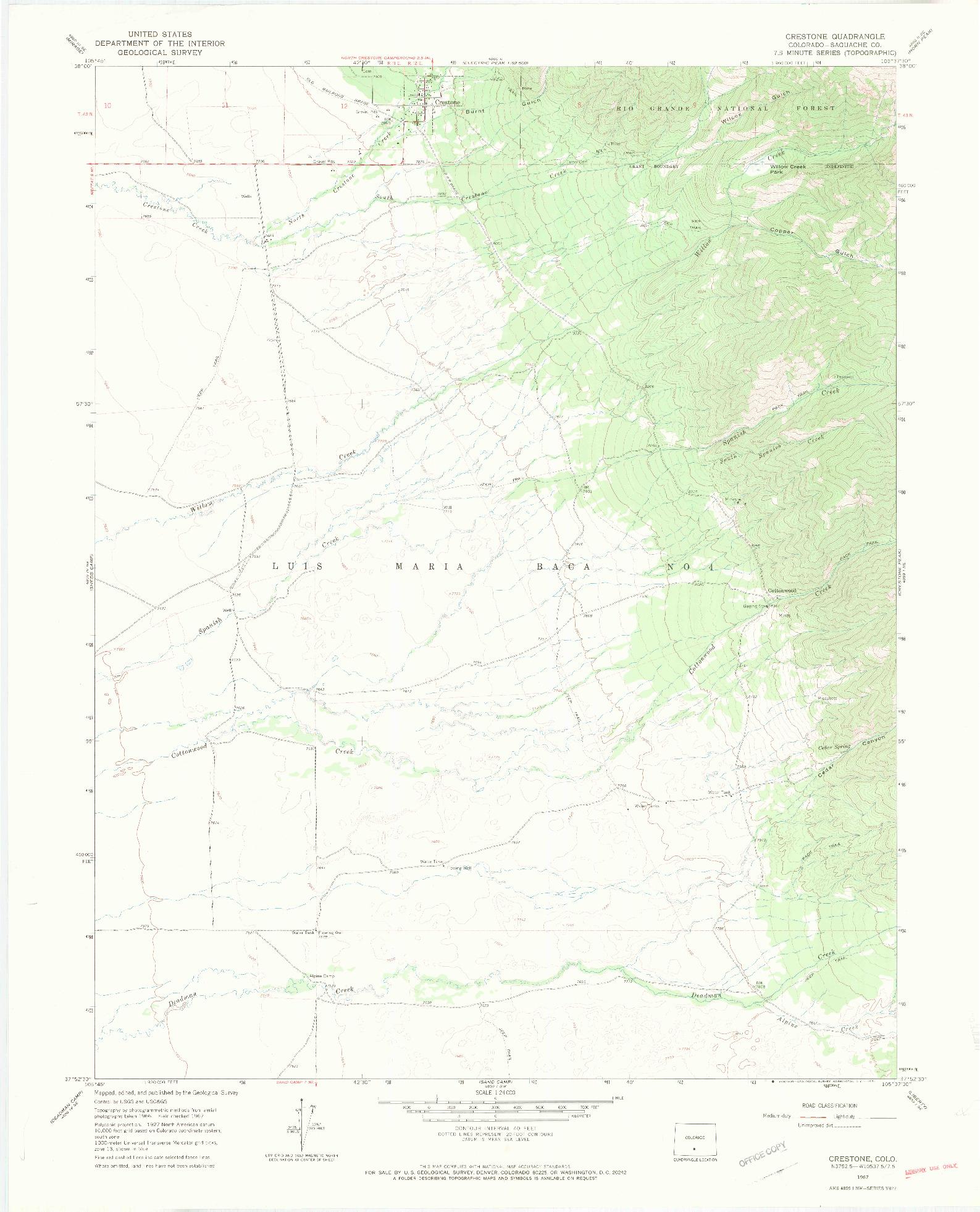 USGS 1:24000-SCALE QUADRANGLE FOR CRESTONE, CO 1967