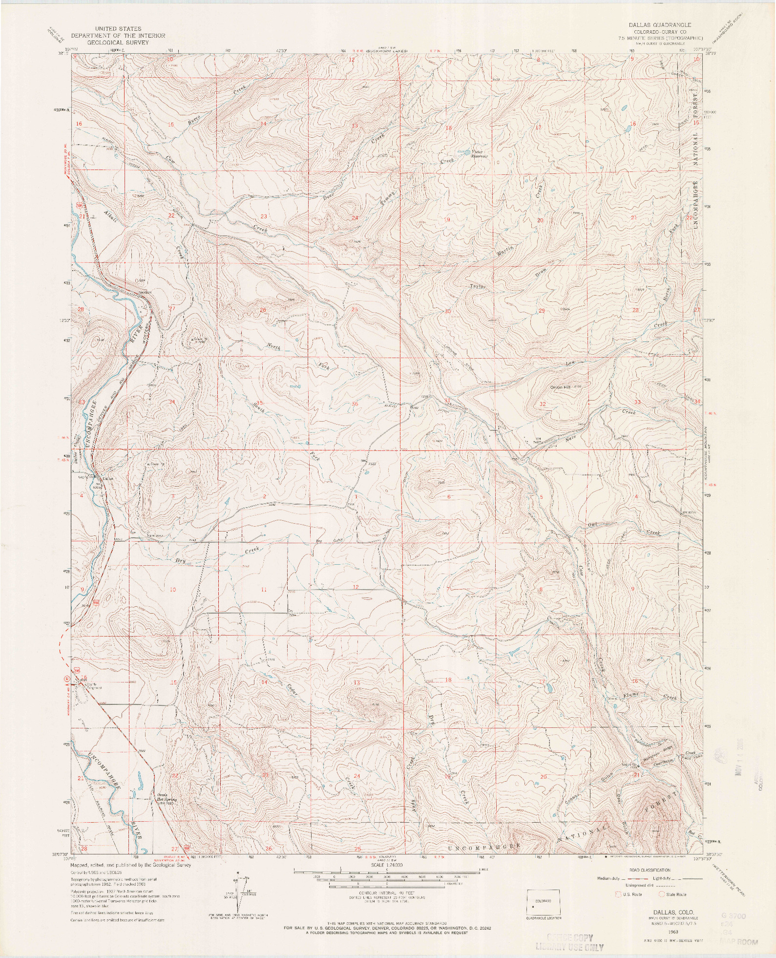 USGS 1:24000-SCALE QUADRANGLE FOR DALLAS, CO 1963