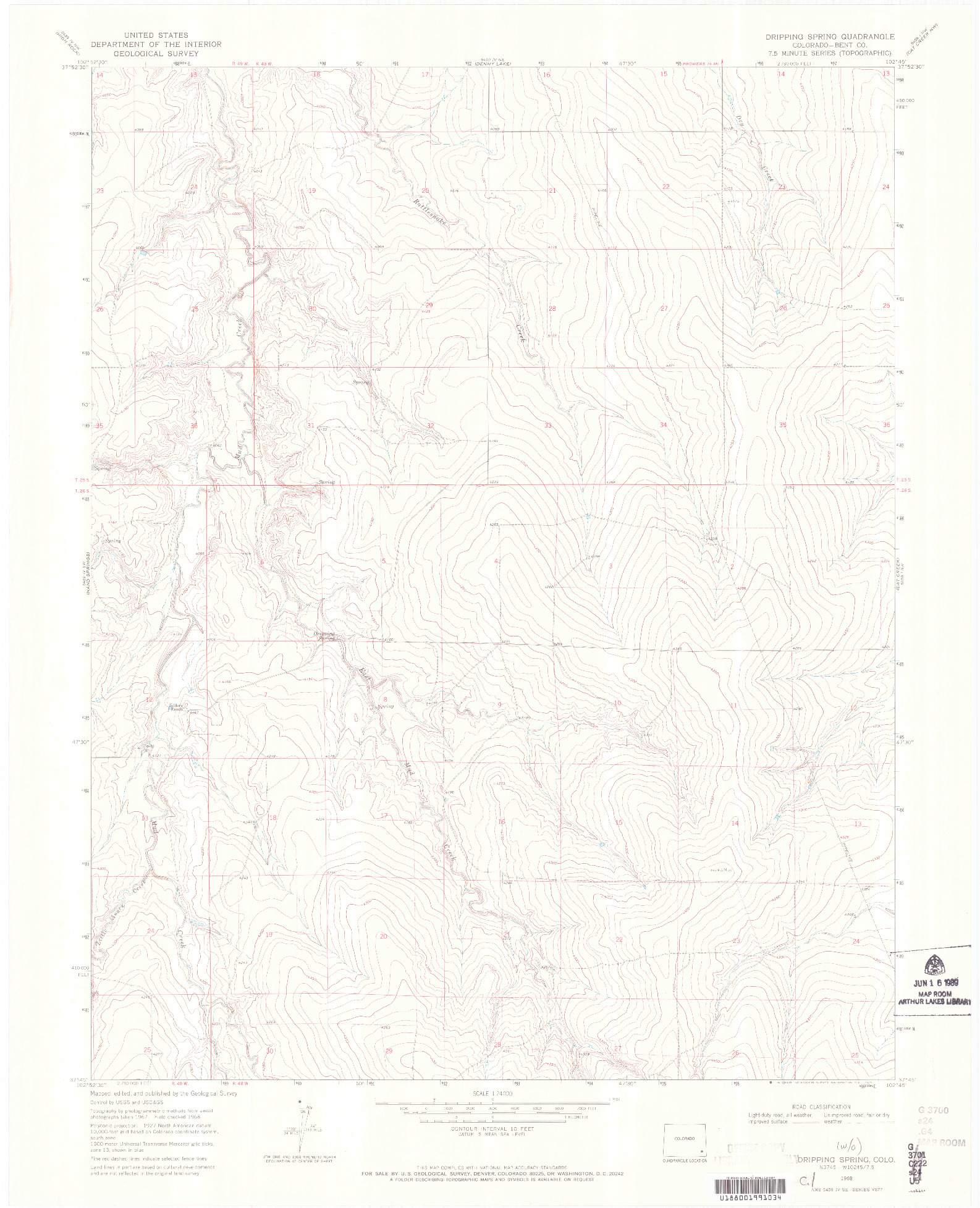 USGS 1:24000-SCALE QUADRANGLE FOR DRIPPING SPRING, CO 1968