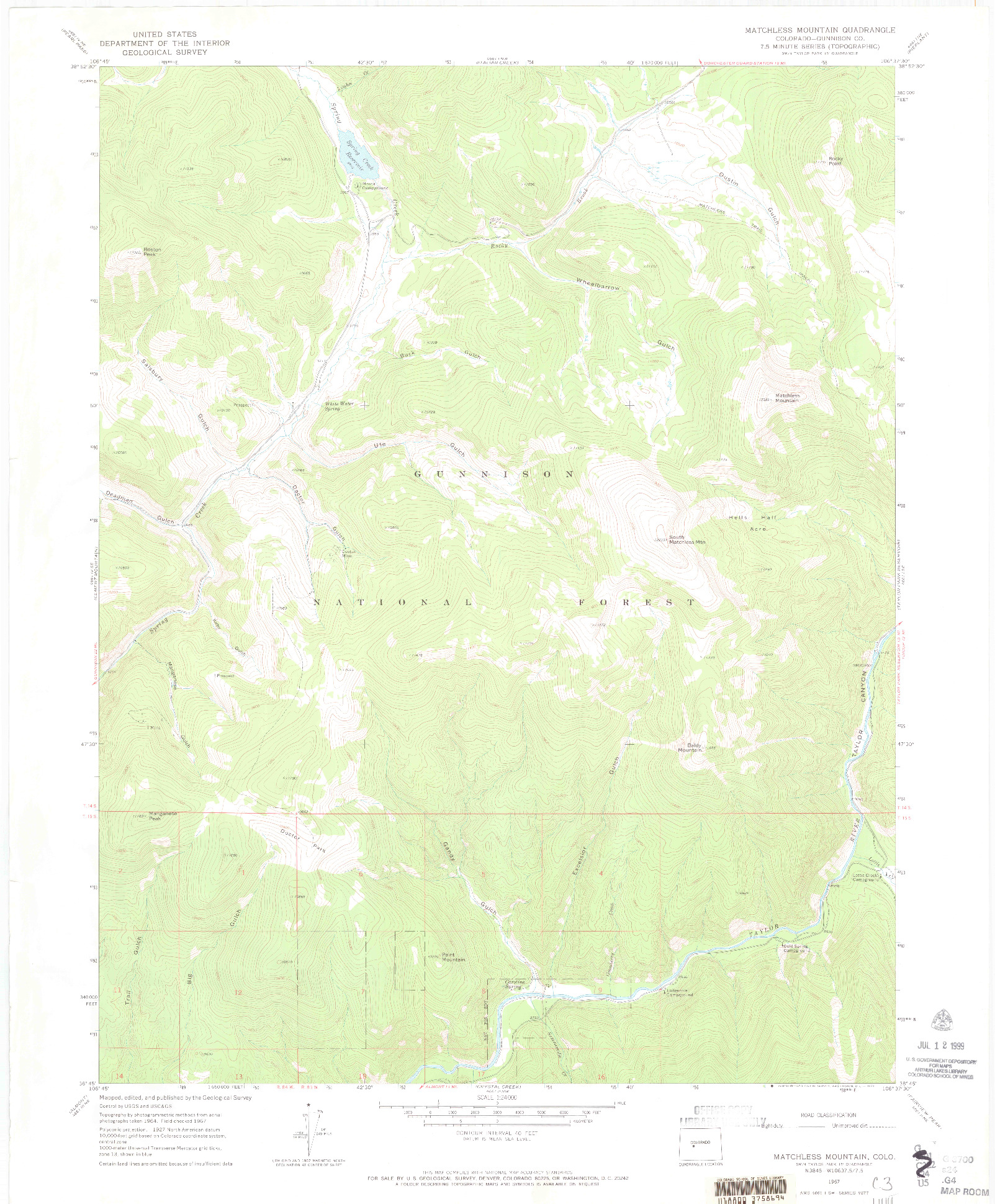 USGS 1:24000-SCALE QUADRANGLE FOR MATCHLESS MOUNTAIN, CO 1967