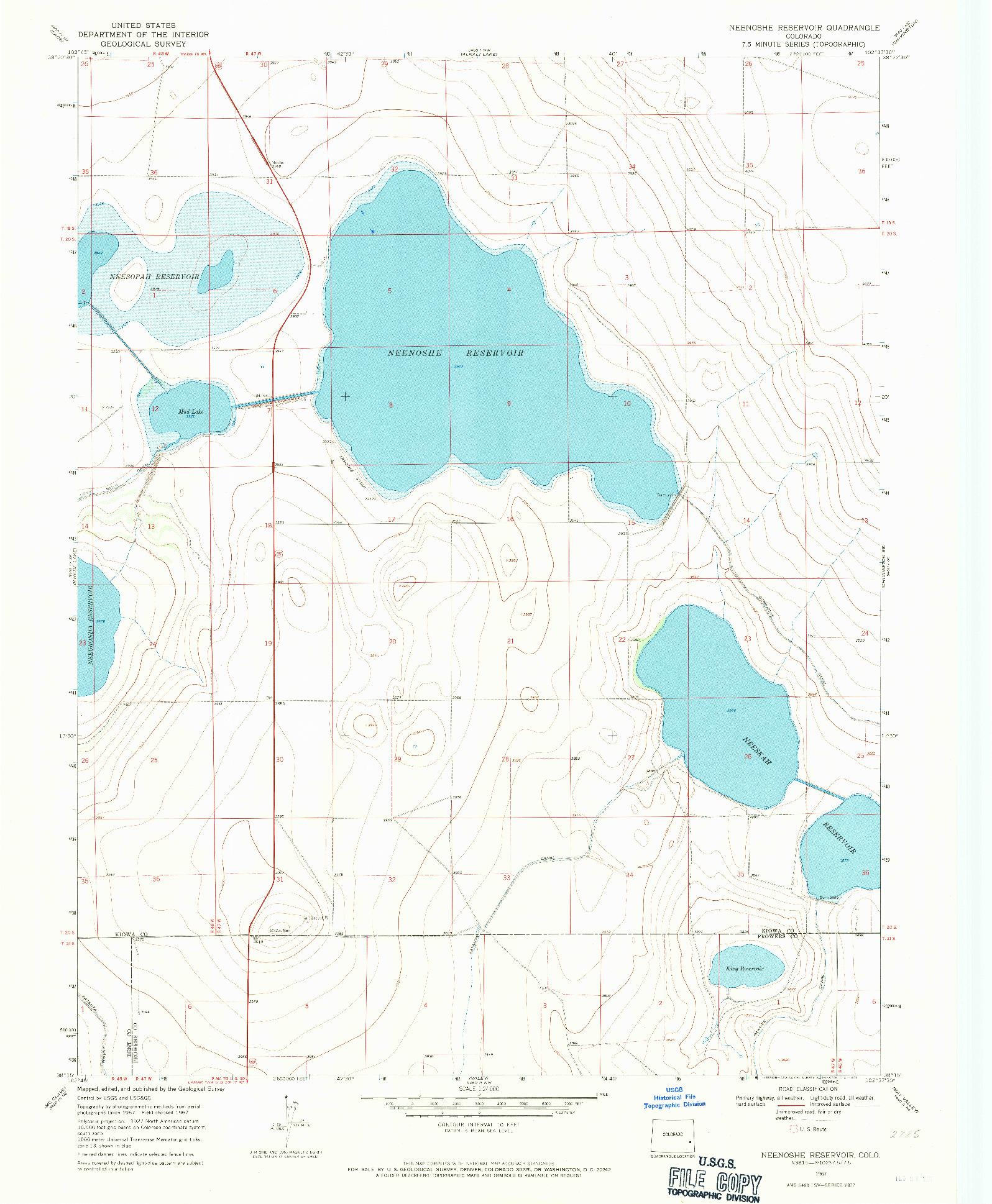 USGS 1:24000-SCALE QUADRANGLE FOR NEENOSHE RESERVOIR, CO 1967