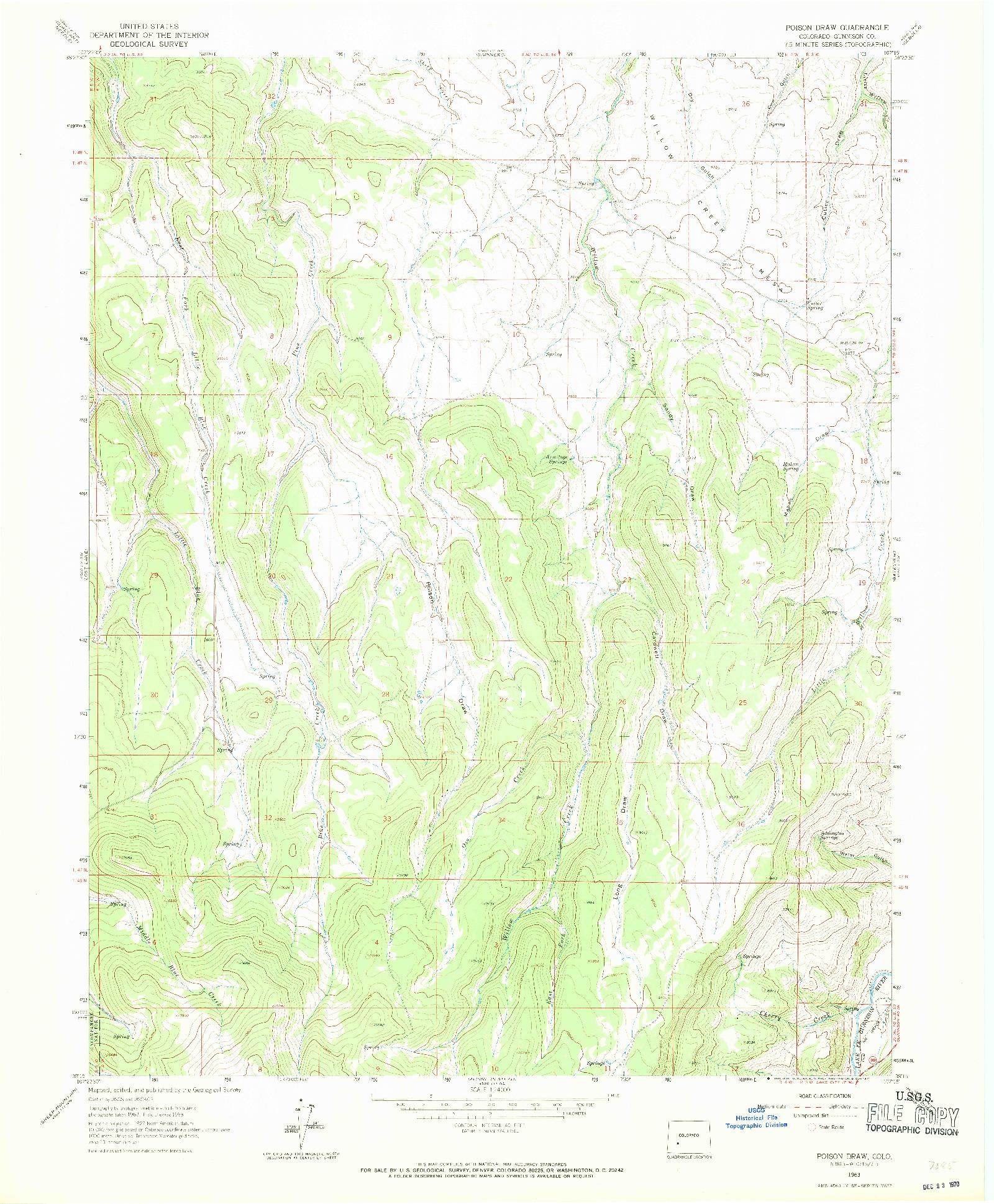 USGS 1:24000-SCALE QUADRANGLE FOR POISON DRAW, CO 1963