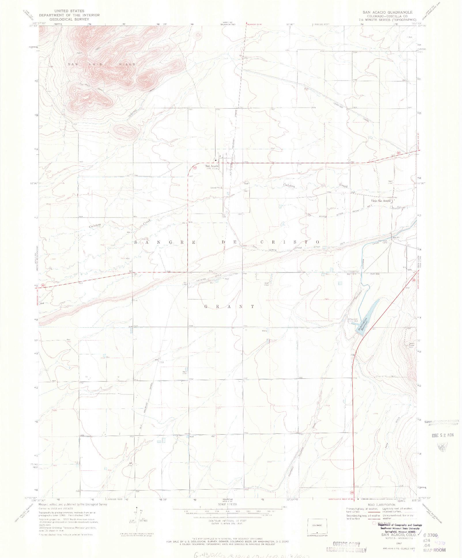 USGS 1:24000-SCALE QUADRANGLE FOR SAN ACACIO, CO 1967