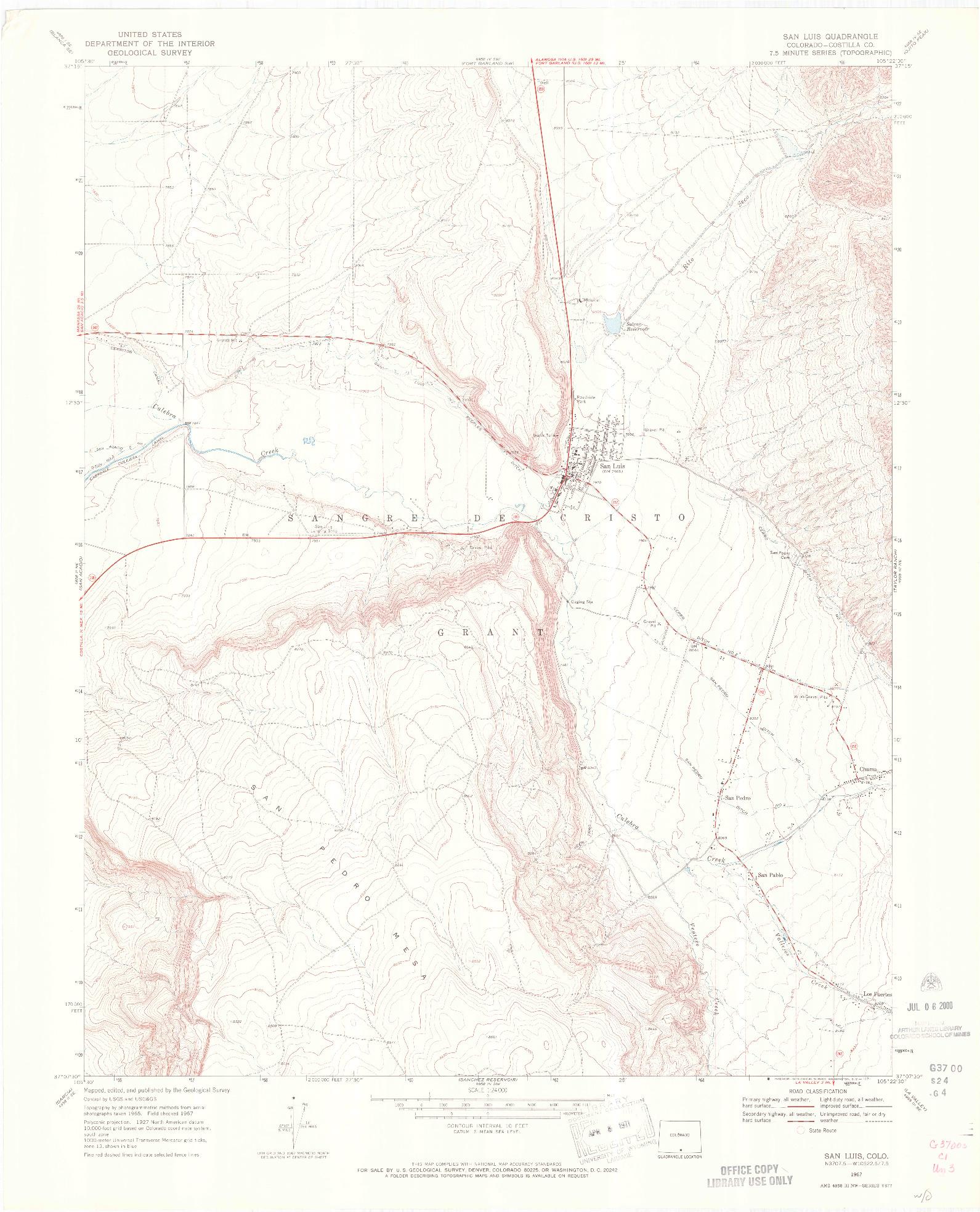 USGS 1:24000-SCALE QUADRANGLE FOR SAN LUIS, CO 1967