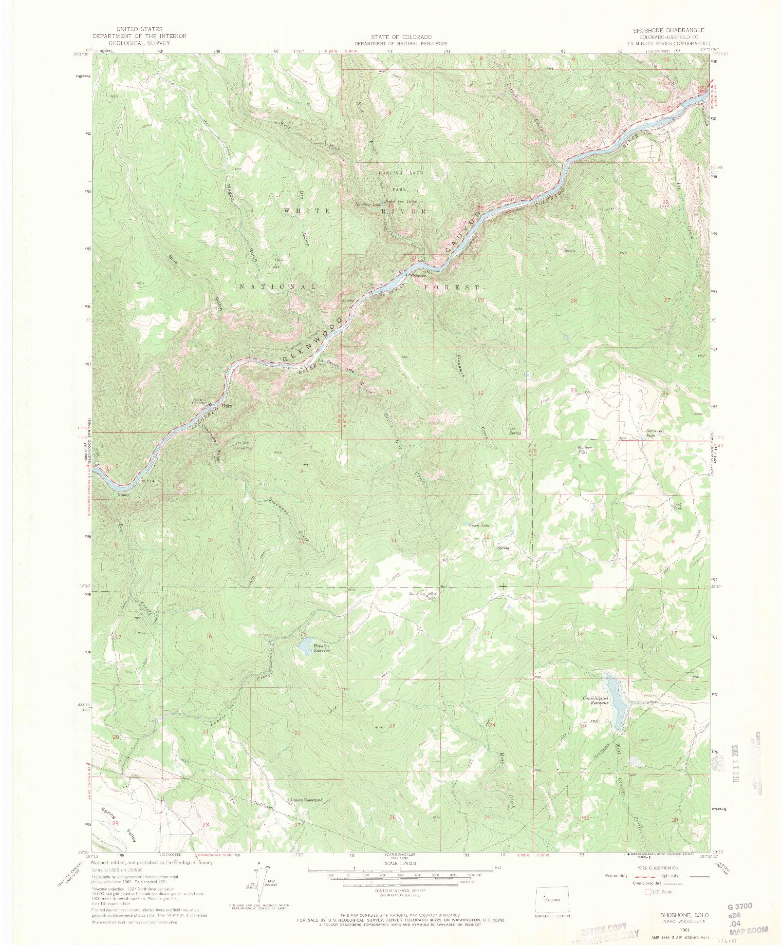 USGS 1:24000-SCALE QUADRANGLE FOR SHOSHONE, CO 1961