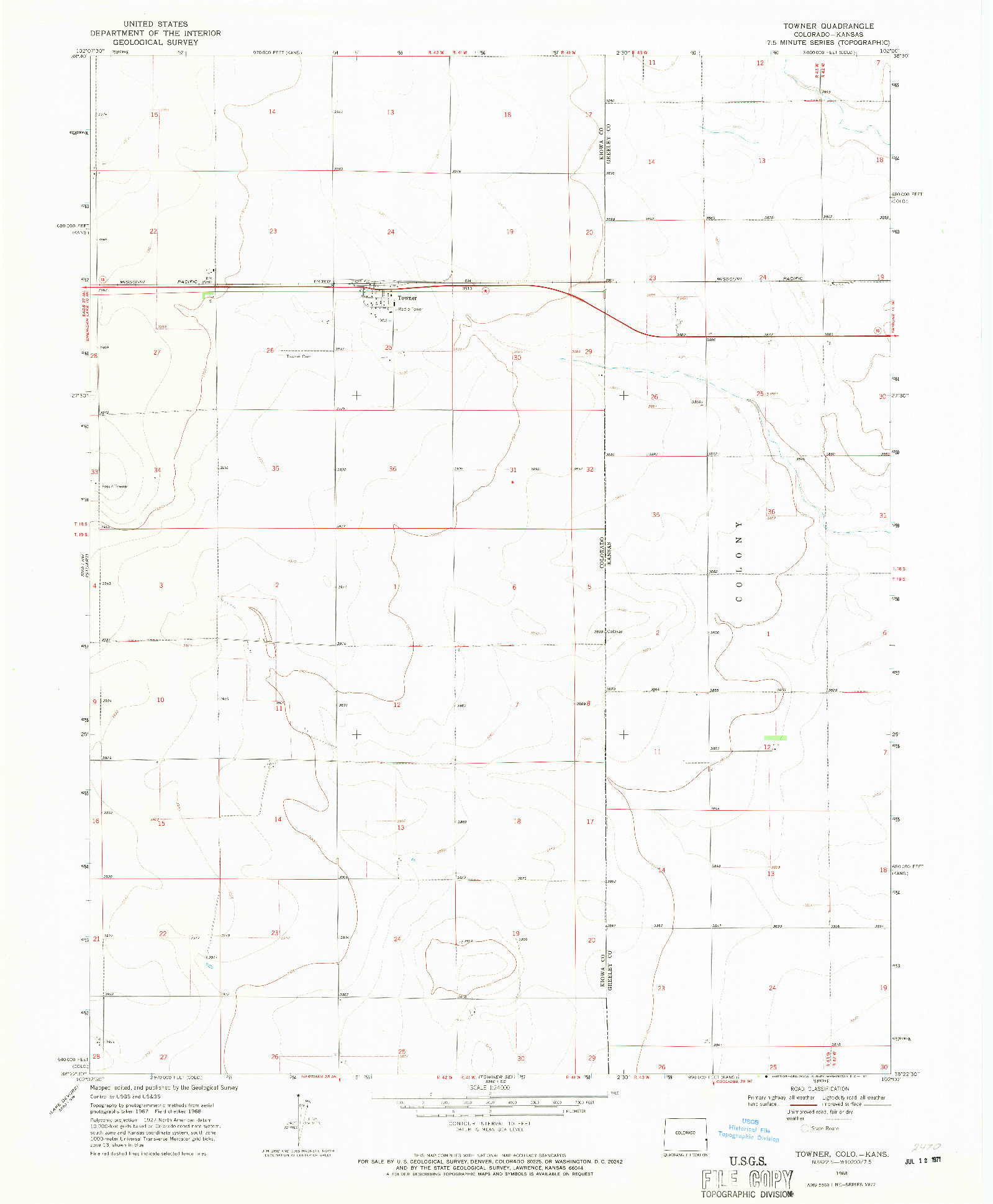USGS 1:24000-SCALE QUADRANGLE FOR TOWNER, CO 1968