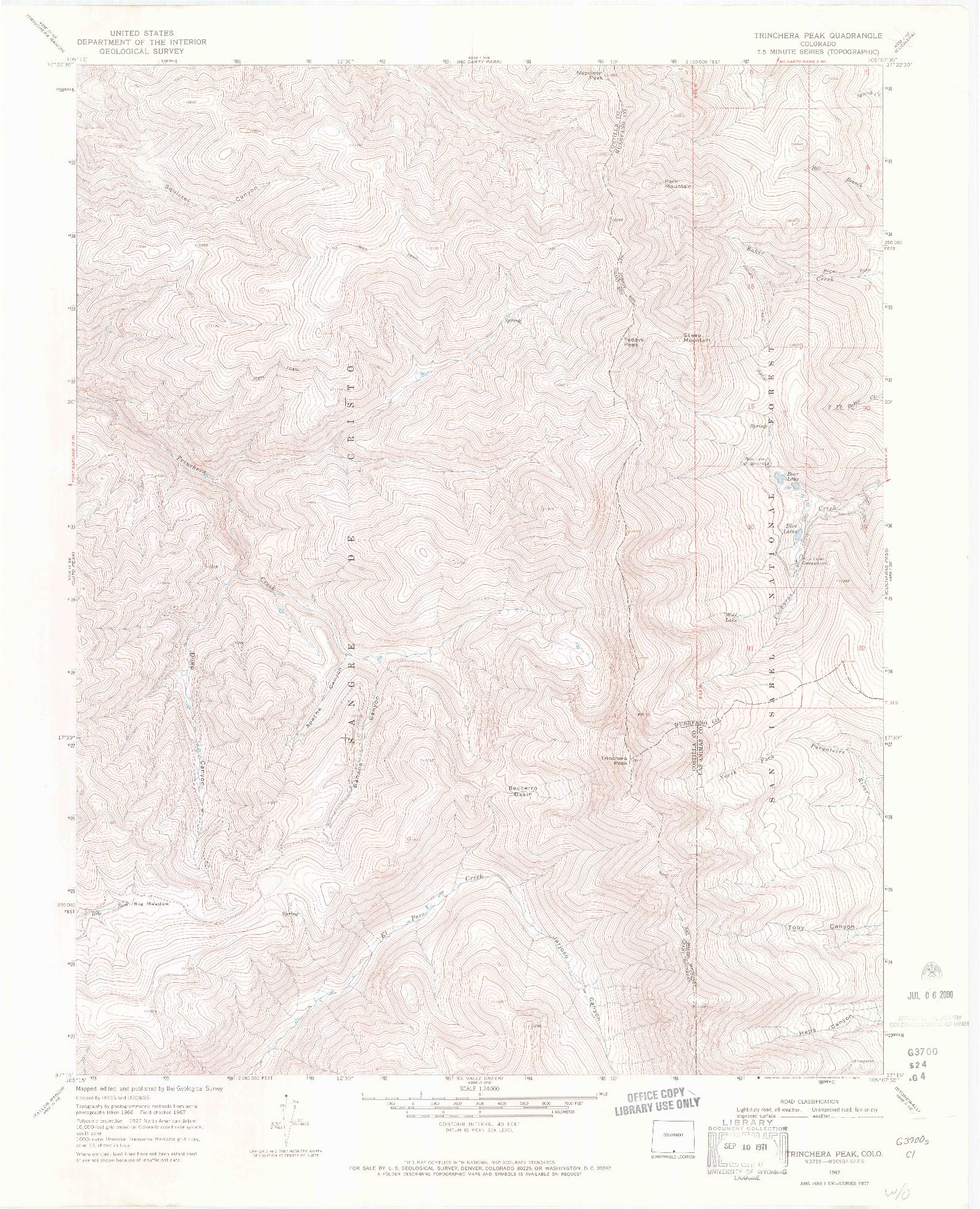 USGS 1:24000-SCALE QUADRANGLE FOR TRINCHERA PEAK, CO 1967