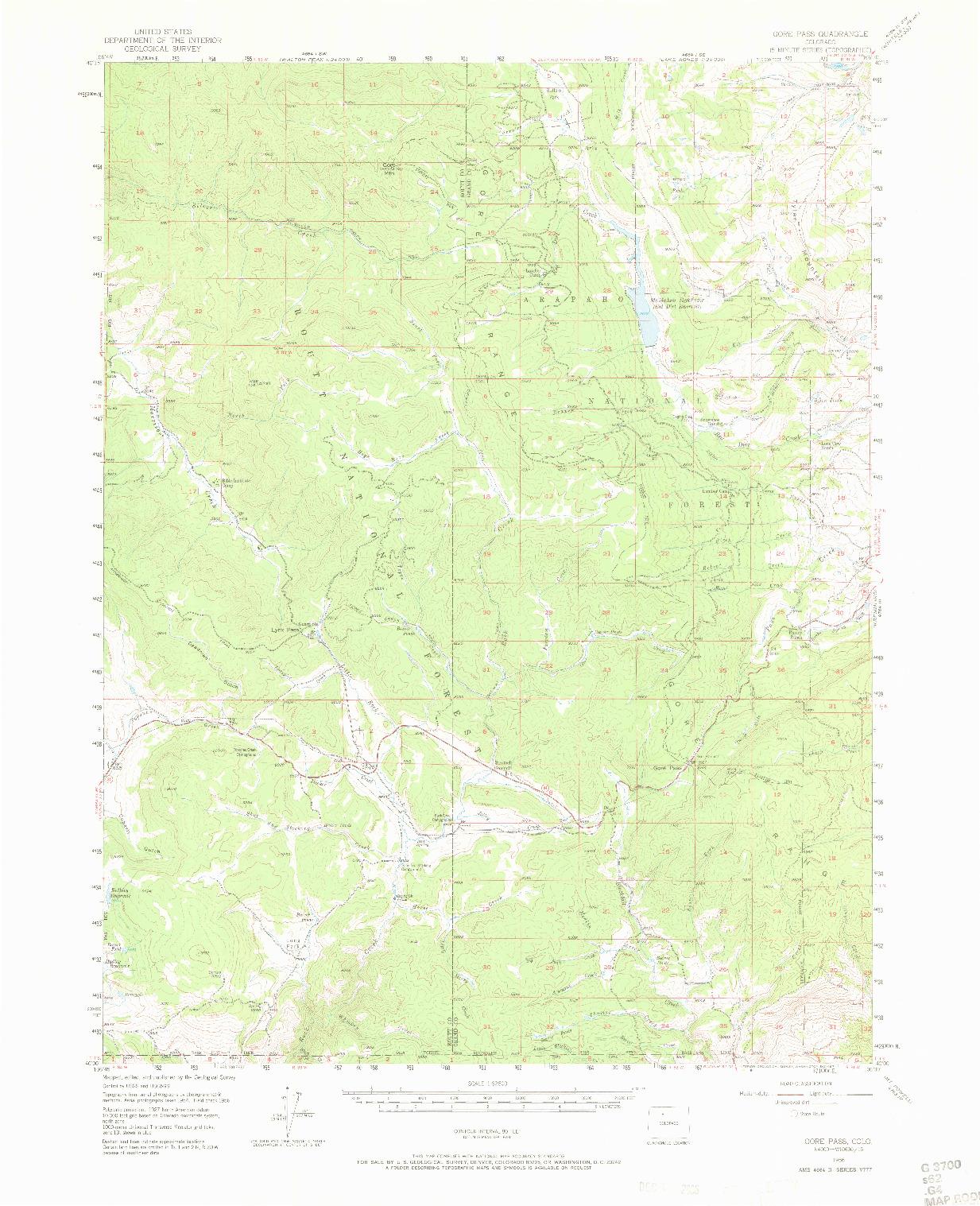 USGS 1:62500-SCALE QUADRANGLE FOR GORE PASS, CO 1956