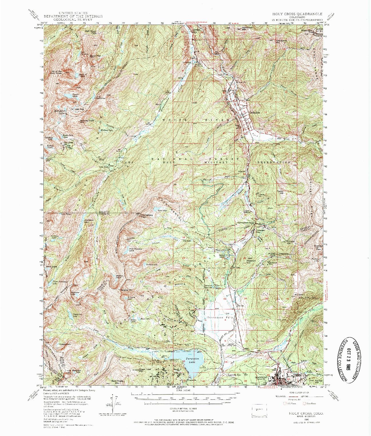 USGS 1:62500-SCALE QUADRANGLE FOR HOLY CROSS, CO 1949