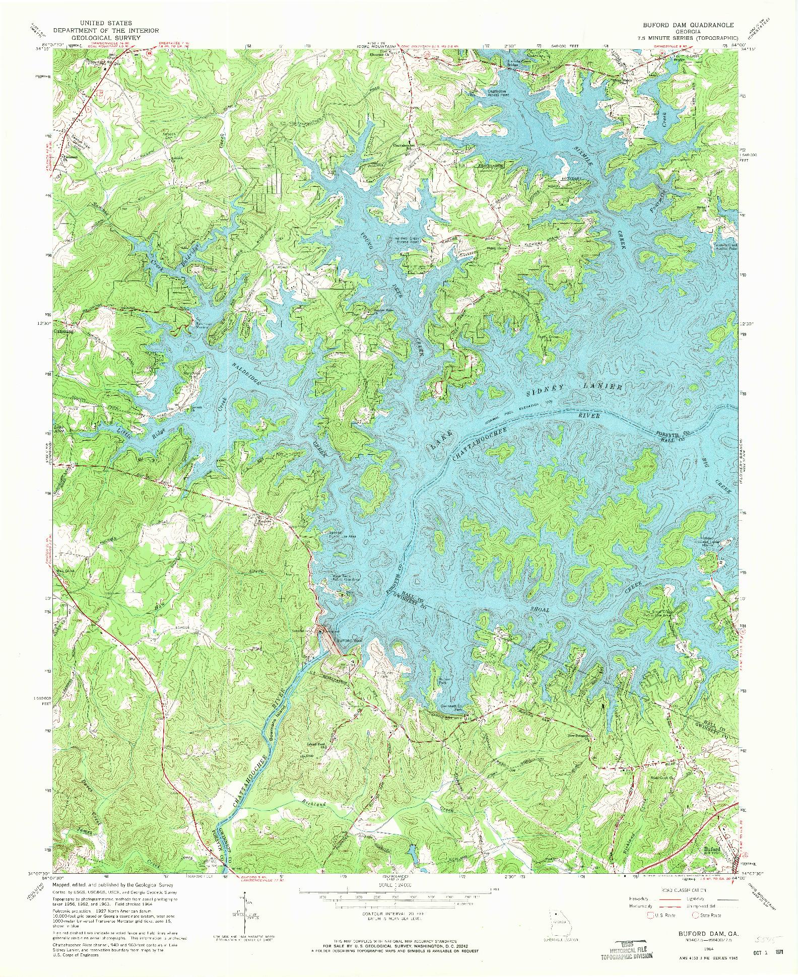 USGS 1:24000-SCALE QUADRANGLE FOR BUFORD DAM, GA 1964