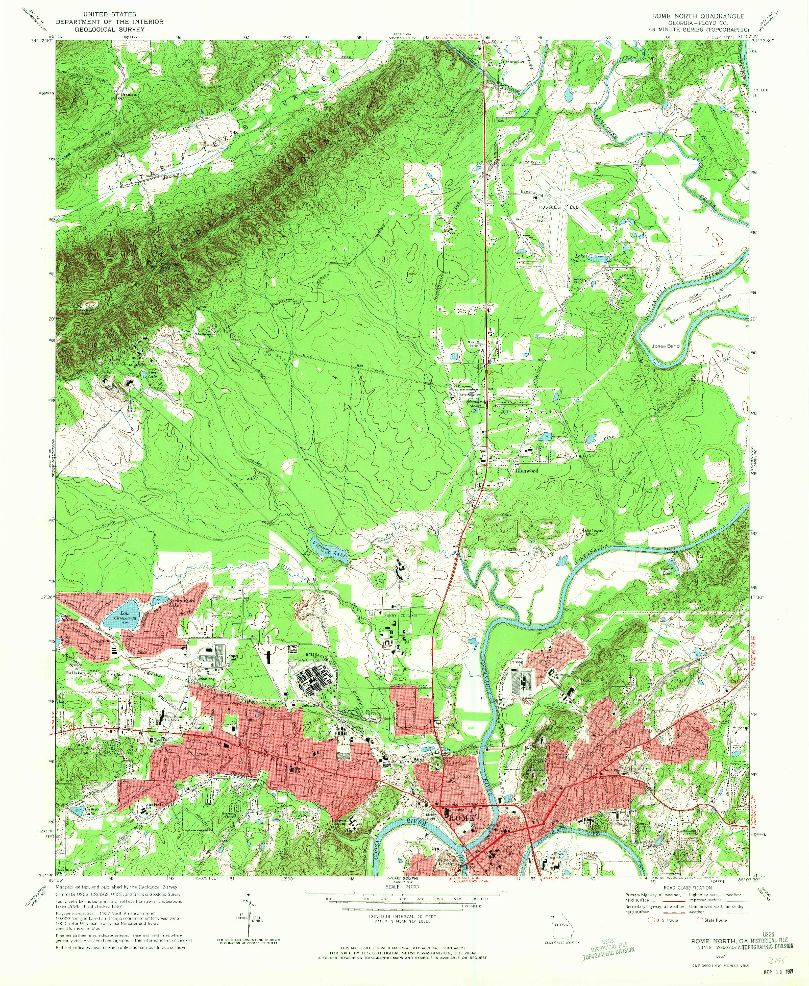 USGS 1:24000-SCALE QUADRANGLE FOR ROME NORTH, GA 1967