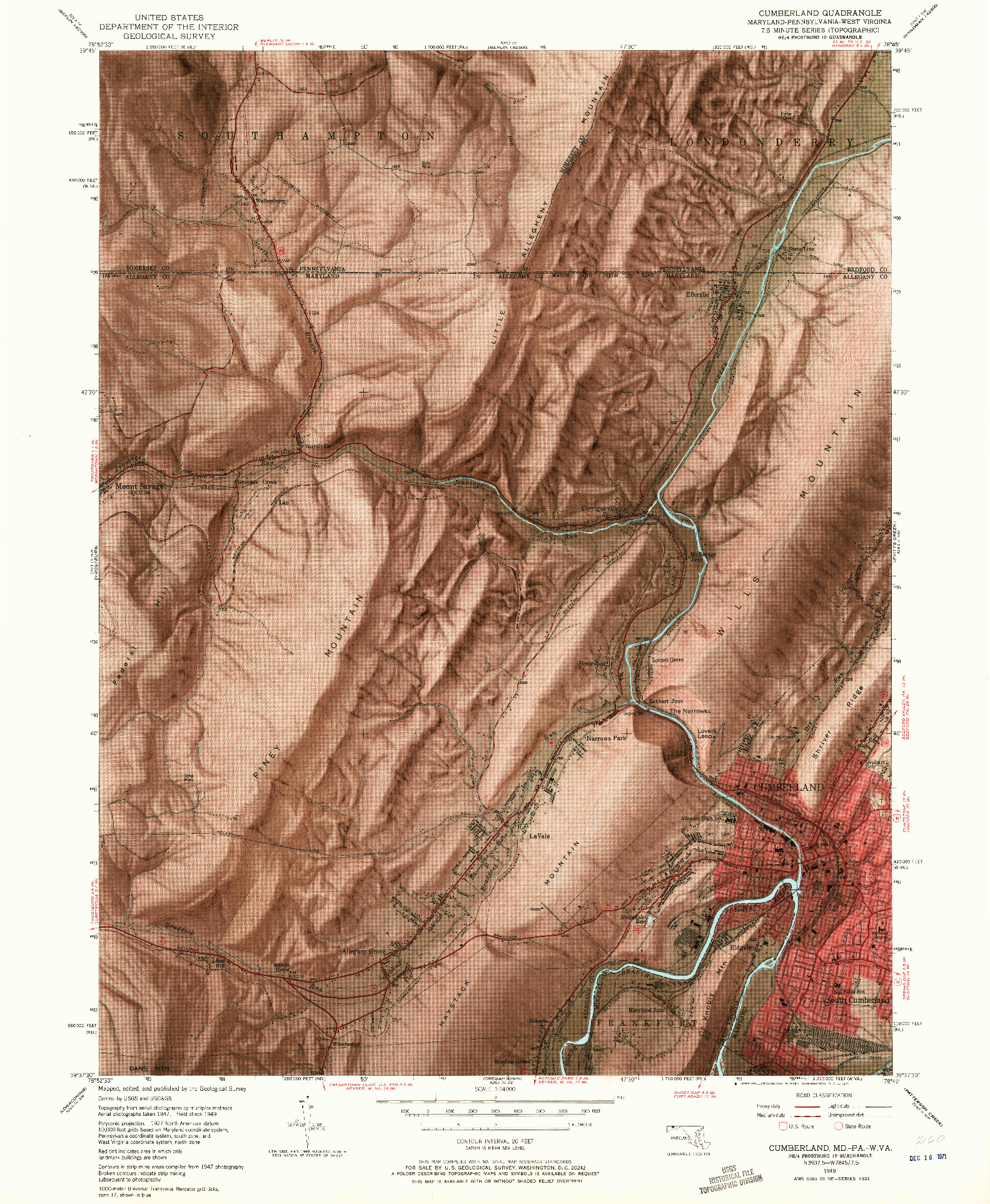 USGS 1:24000-SCALE QUADRANGLE FOR CUMBERLAND, MD 1949