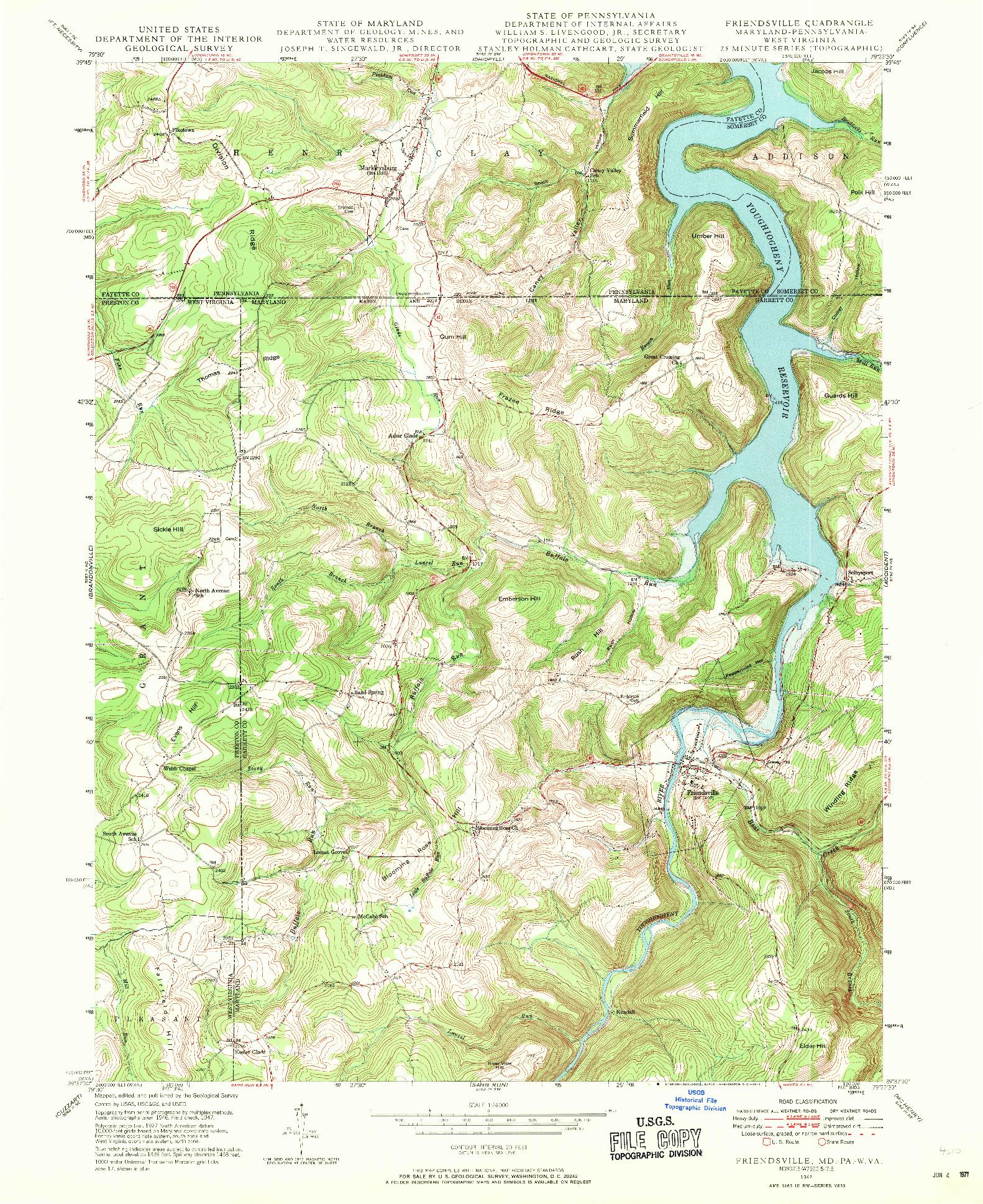 USGS 1:24000-SCALE QUADRANGLE FOR FRIENDSVILLE, MD 1947