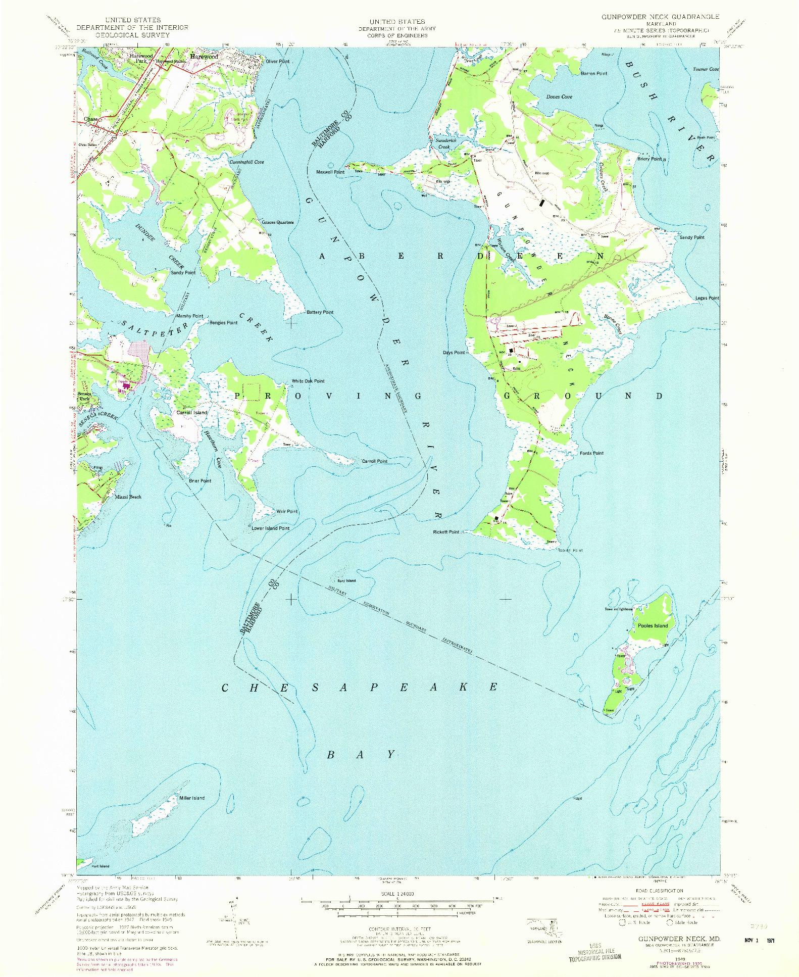 USGS 1:24000-SCALE QUADRANGLE FOR GUNPOWDER NECK, MD 1949