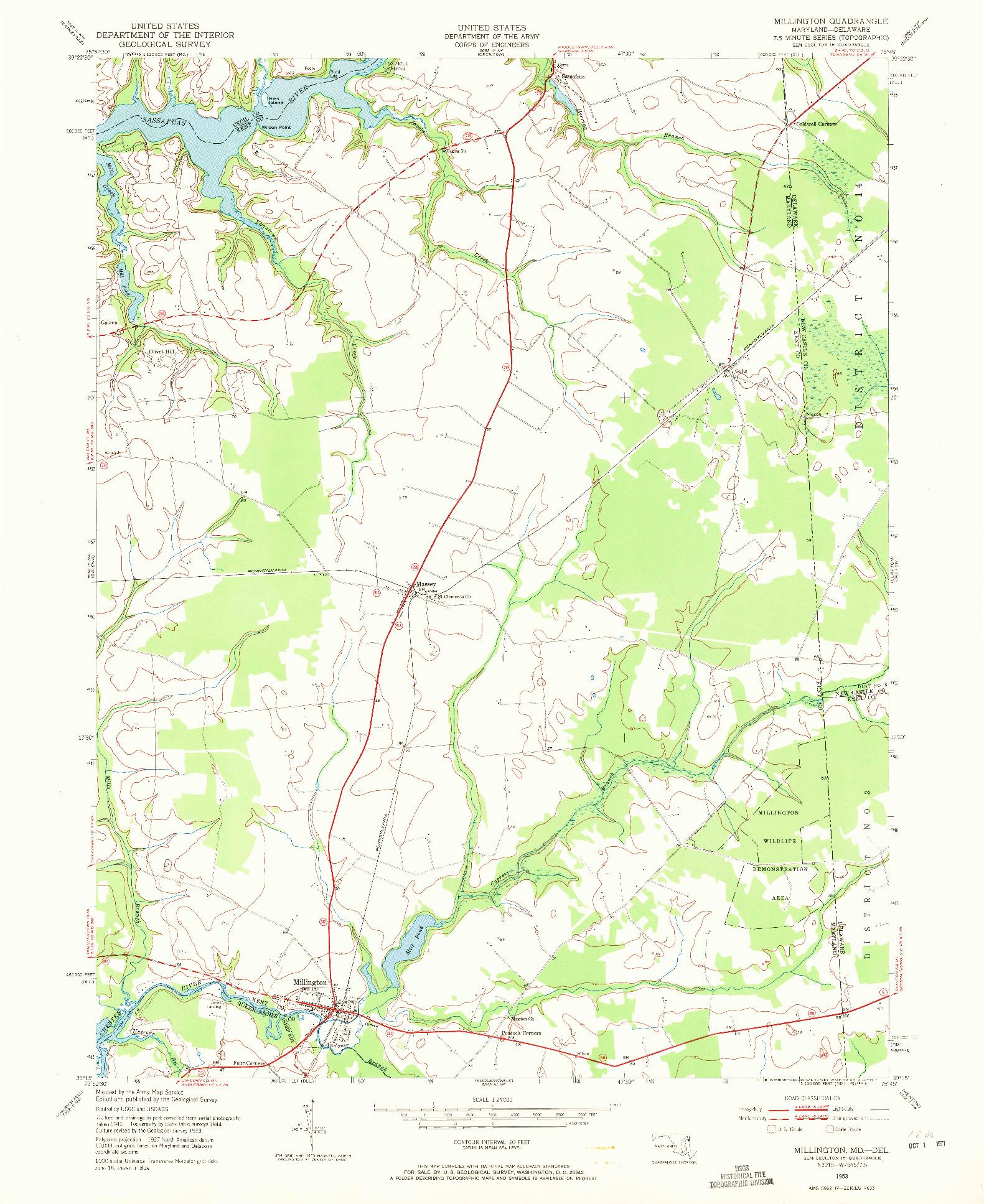 USGS 1:24000-SCALE QUADRANGLE FOR MILLINGTON, MD 1953