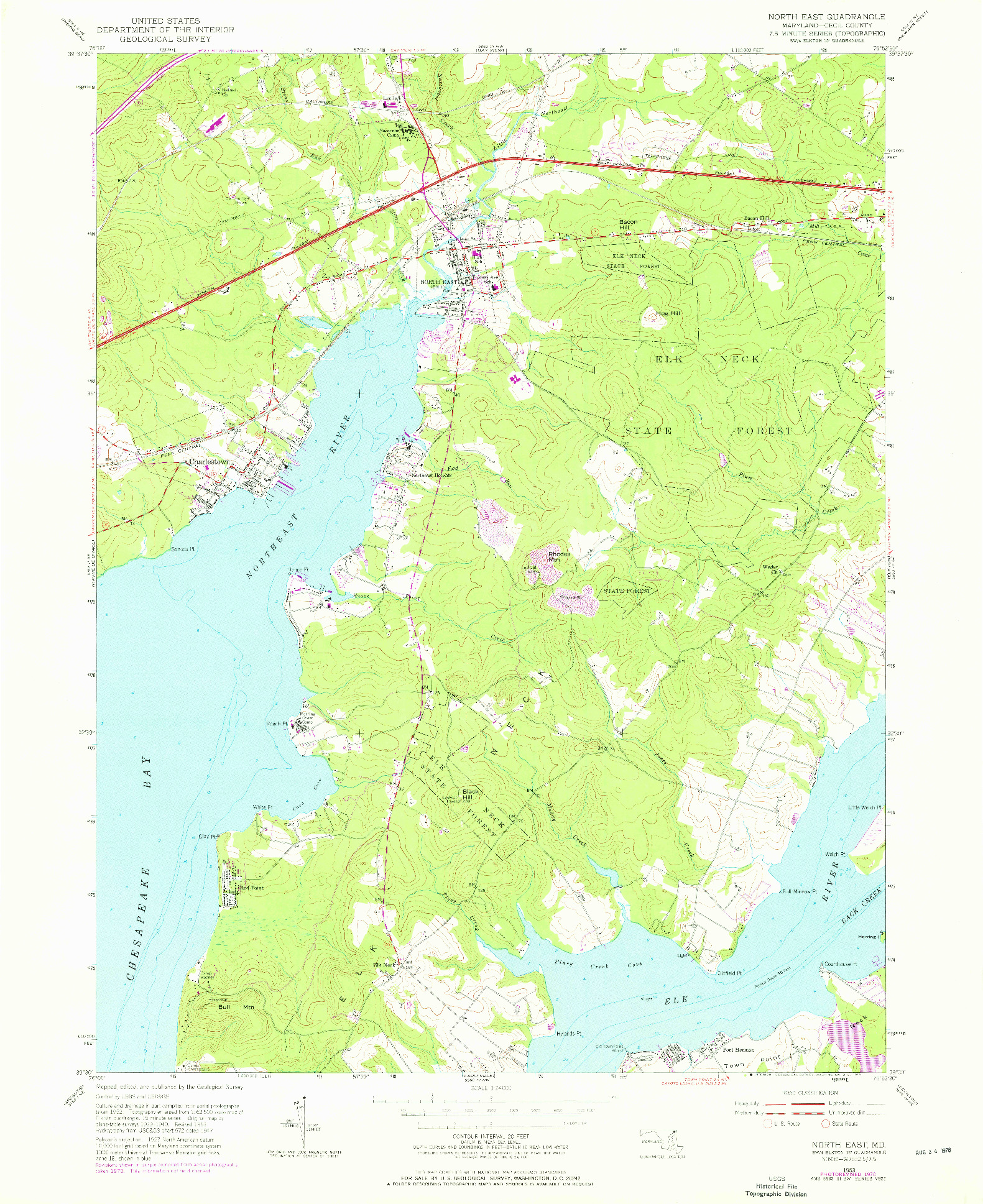 USGS 1:24000-SCALE QUADRANGLE FOR NORTH EAST, MD 1953
