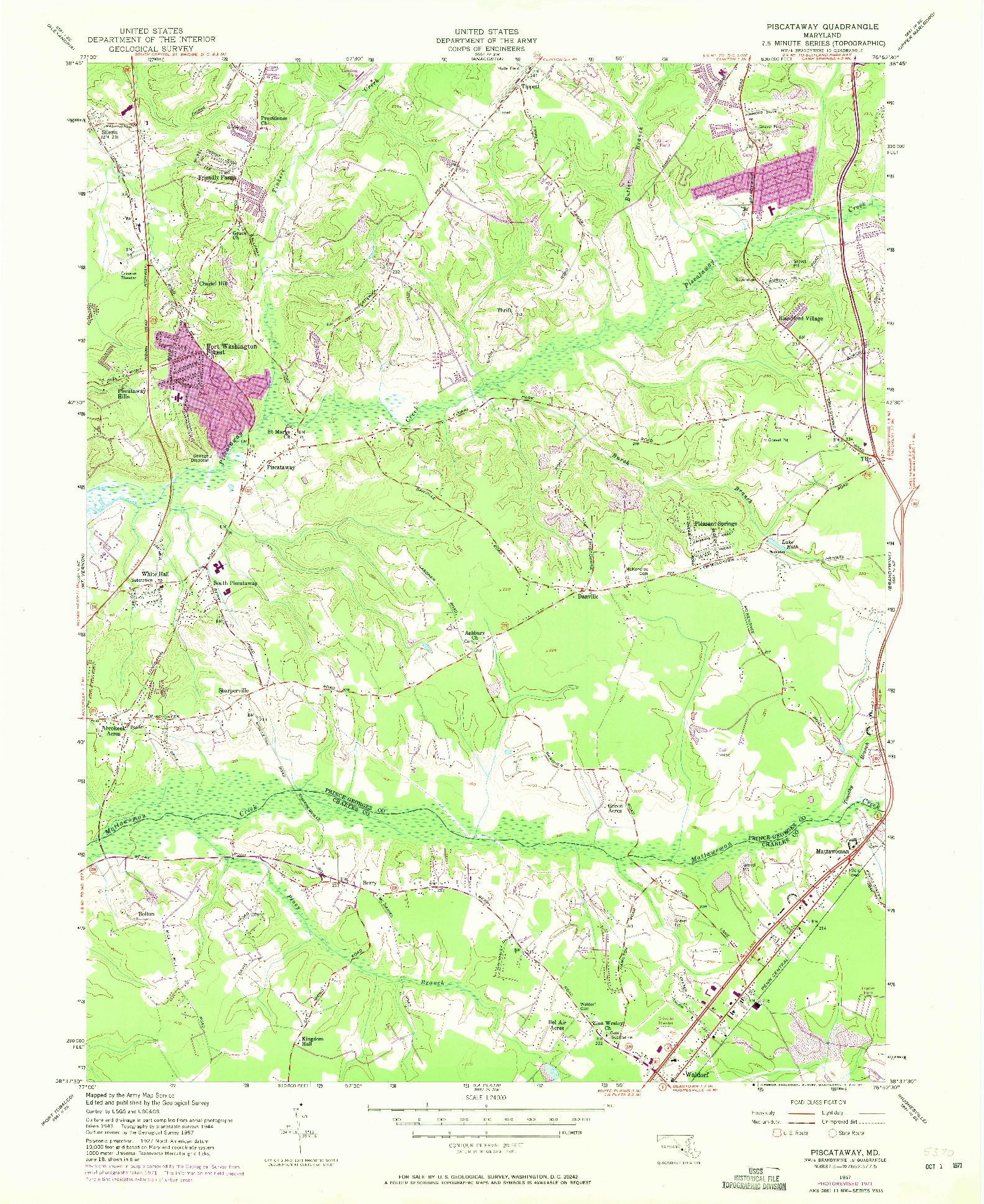 USGS 1:24000-SCALE QUADRANGLE FOR PISCATAWAY, MD 1957