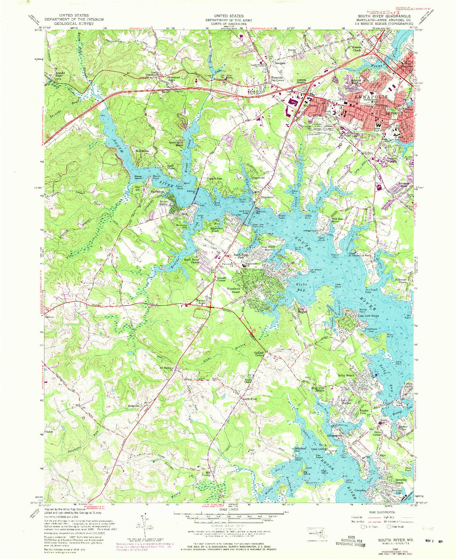 USGS 1:24000-SCALE QUADRANGLE FOR SOUTH RIVER, MD 1957