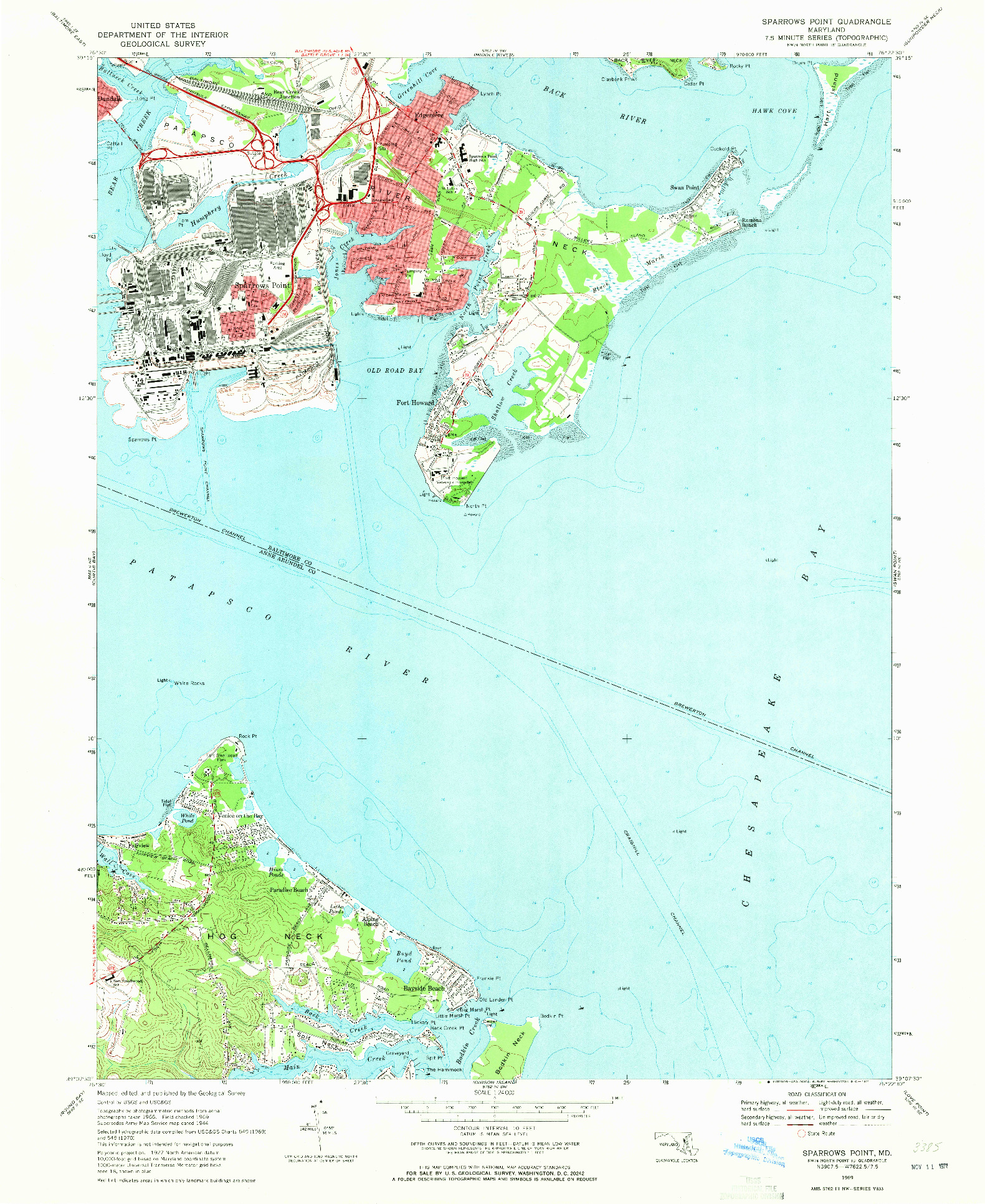USGS 1:24000-SCALE QUADRANGLE FOR SPARROWS POINT, MD 1969