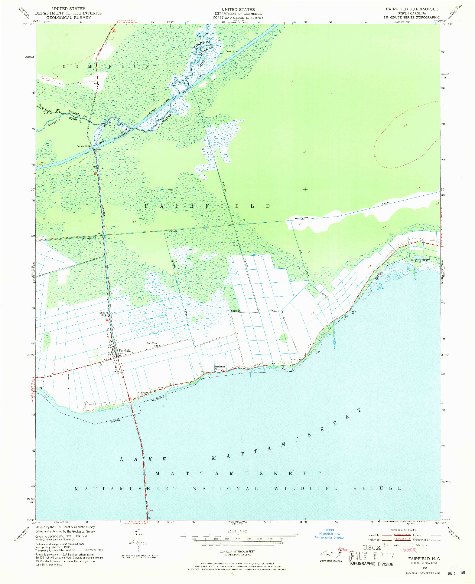 USGS 1:24000-SCALE QUADRANGLE FOR FAIRFIELD, NC 1951