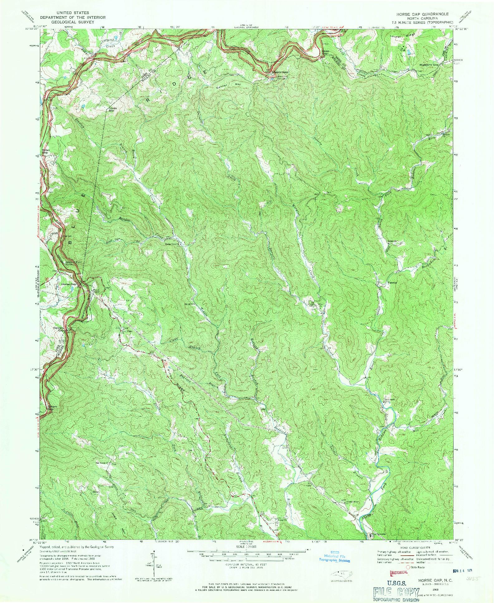USGS 1:24000-SCALE QUADRANGLE FOR HORSE GAP, NC 1968