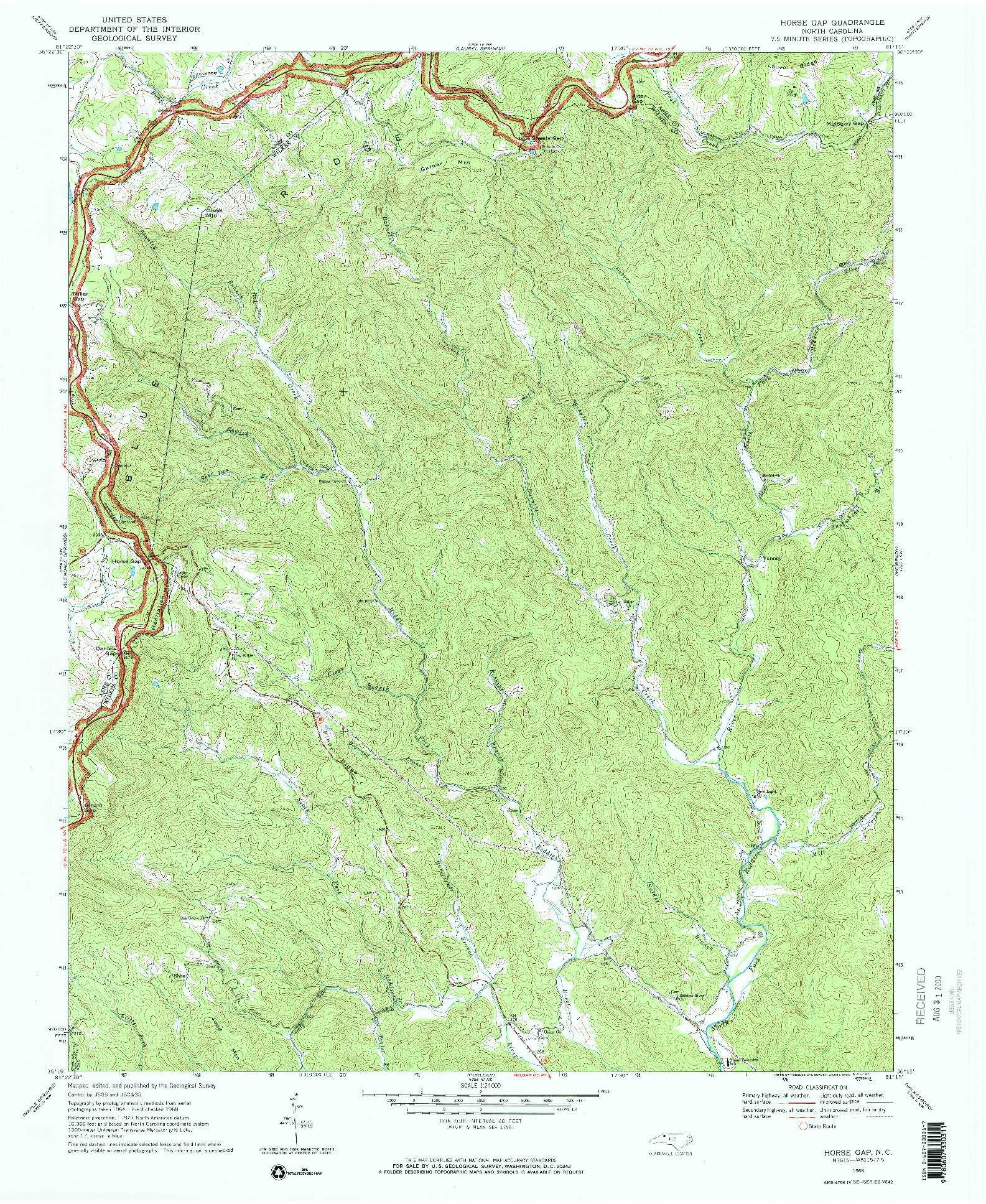 USGS 1:24000-SCALE QUADRANGLE FOR HORSE GAP, NC 1968
