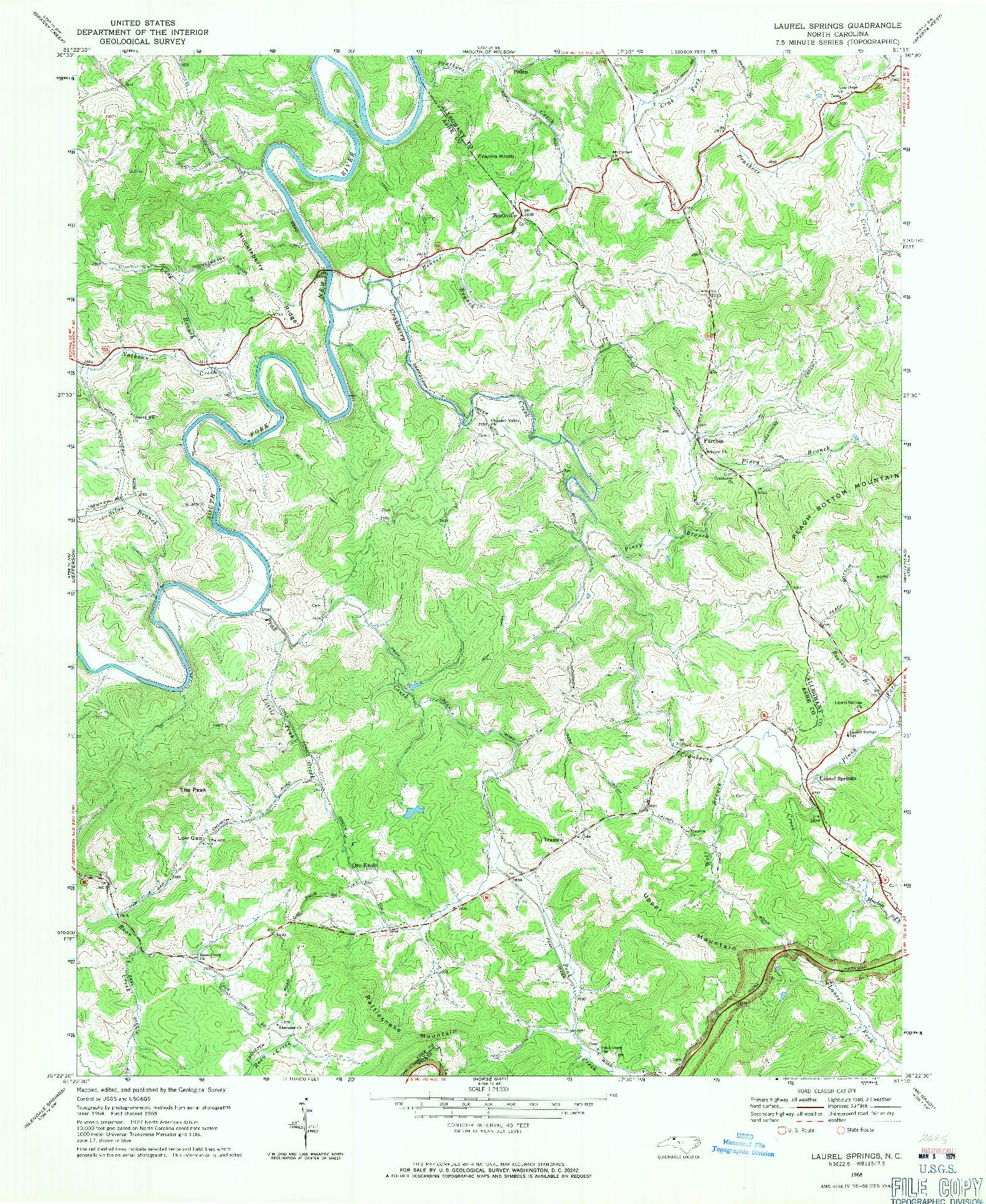 USGS 1:24000-SCALE QUADRANGLE FOR LAUREL SPRINGS, NC 1968