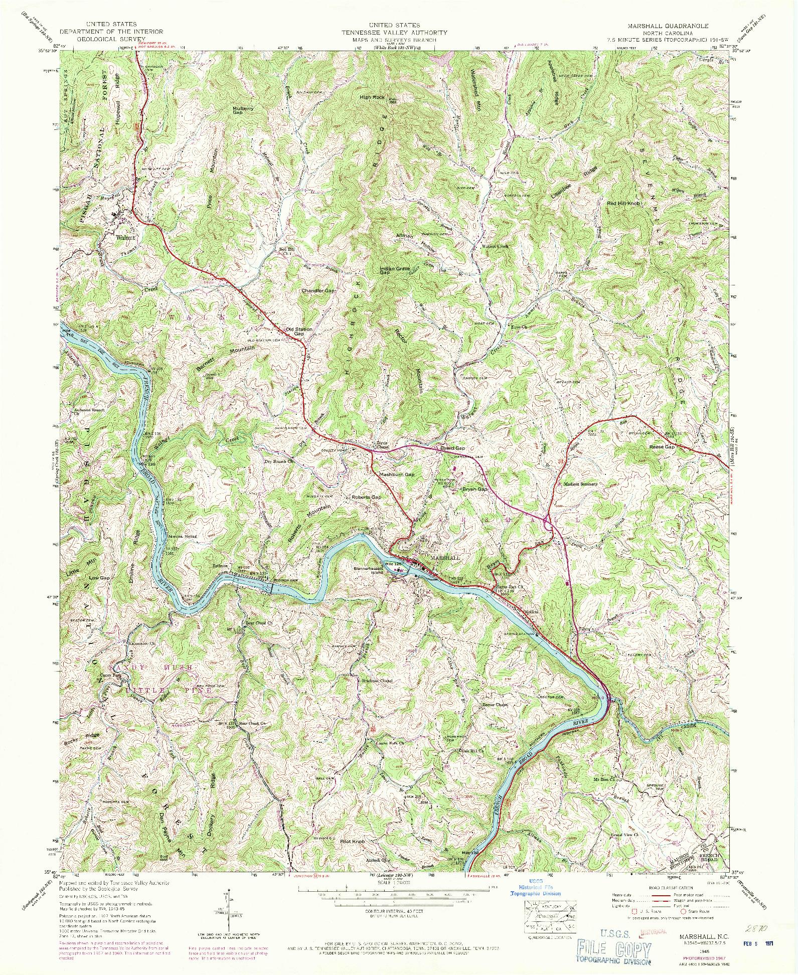 USGS 1:24000-SCALE QUADRANGLE FOR MARSHALL, NC 1945