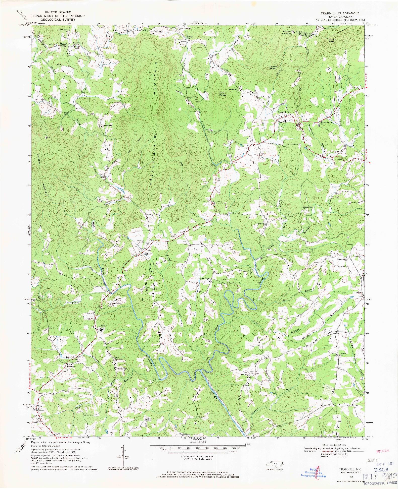 USGS 1:24000-SCALE QUADRANGLE FOR TRAPHILL, NC 1968
