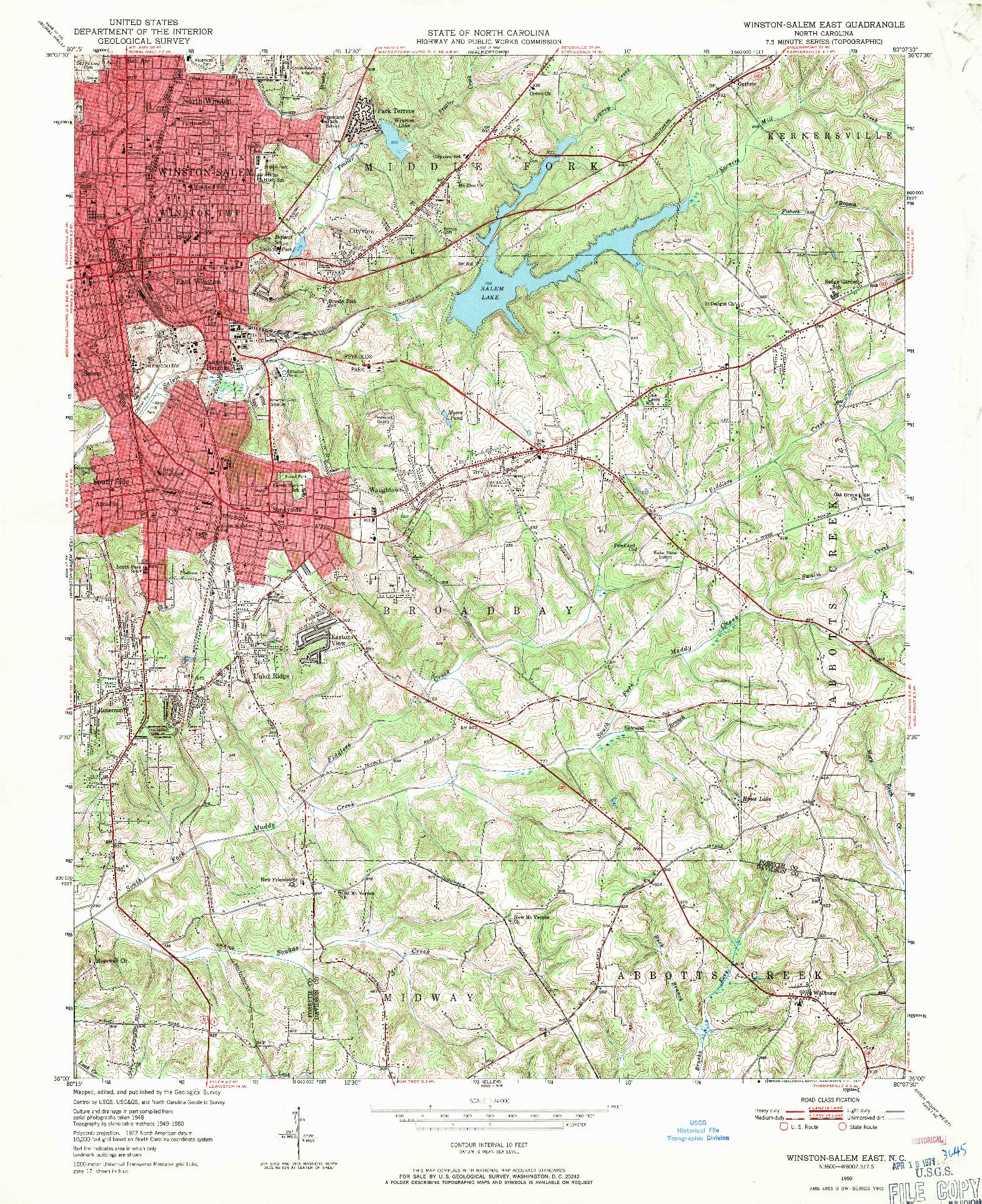 USGS 1:24000-SCALE QUADRANGLE FOR WINSTON-SALEM EAST, NC 1950