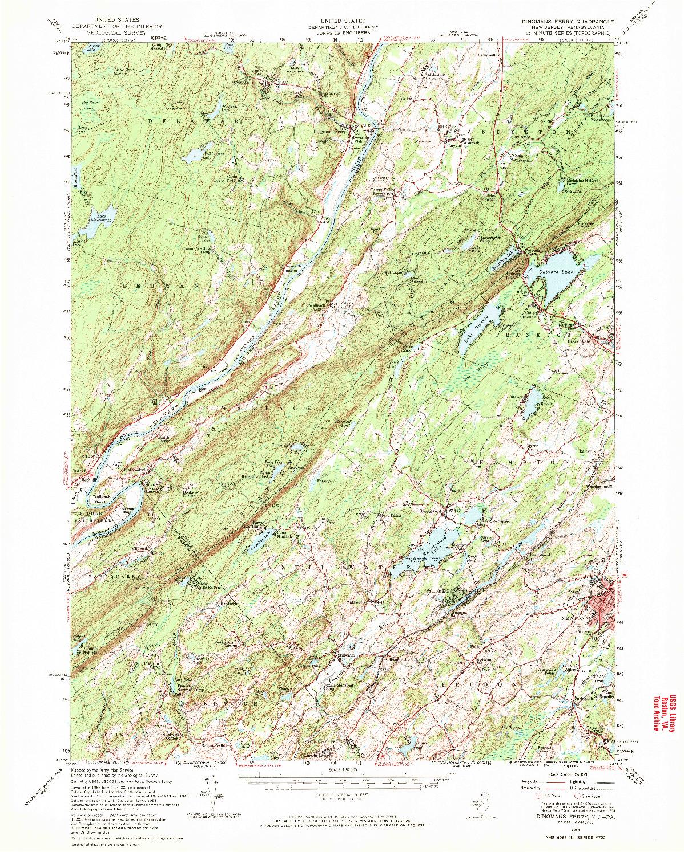 USGS 1:62500-SCALE QUADRANGLE FOR DINGMANS FERRY, NJ 1954