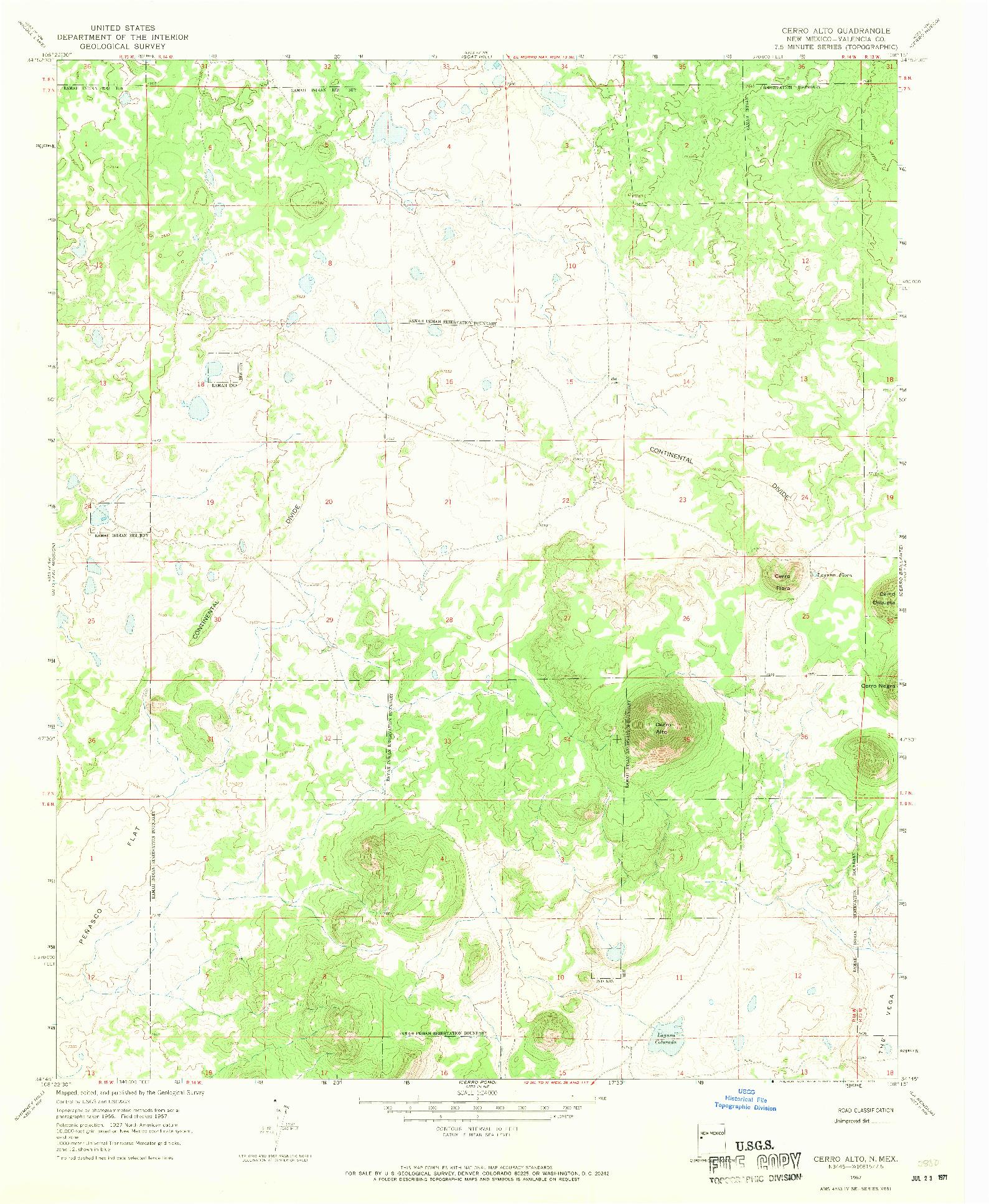 USGS 1:24000-SCALE QUADRANGLE FOR CERRO ALTO, NM 1967