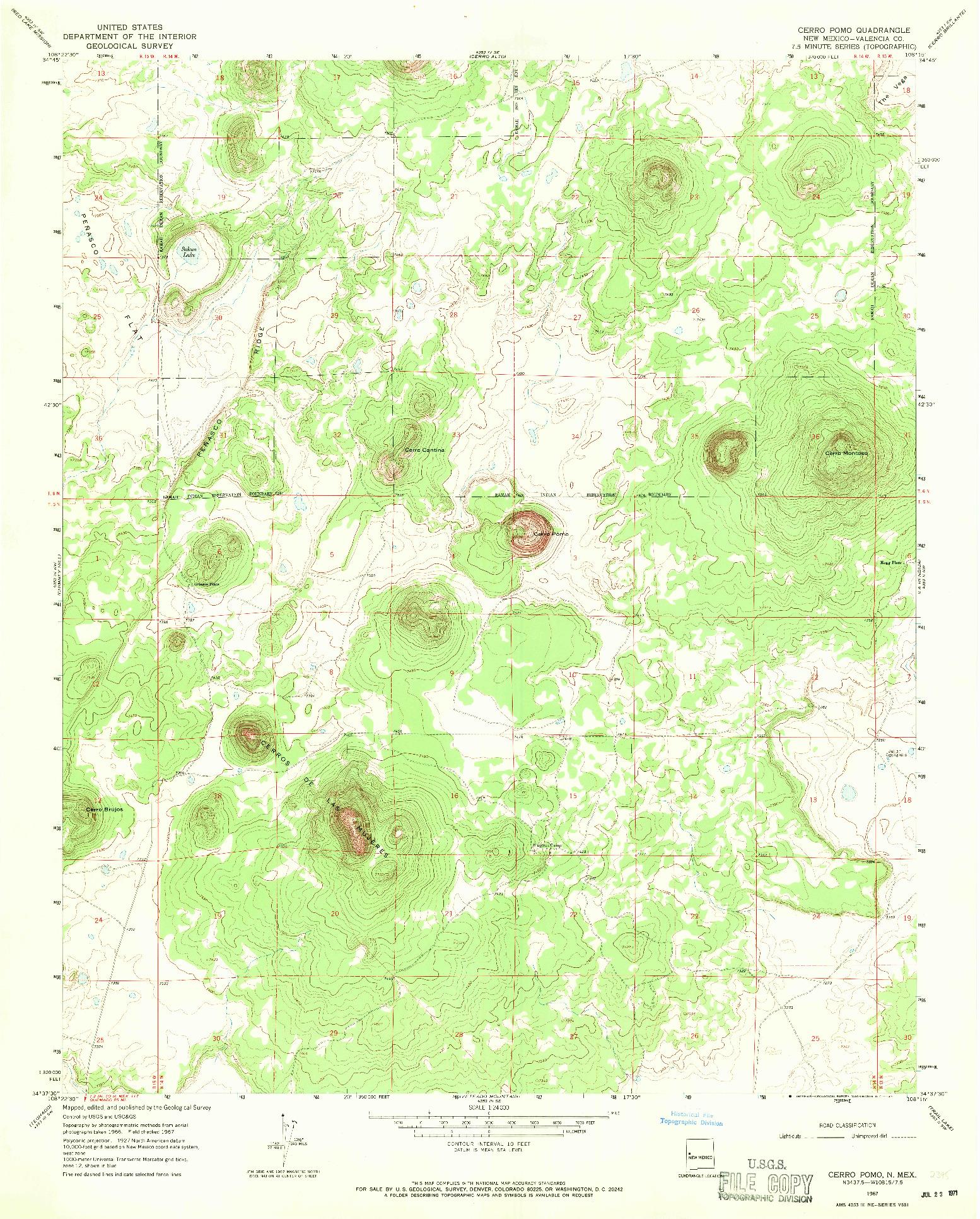 USGS 1:24000-SCALE QUADRANGLE FOR CERRO POMO, NM 1967