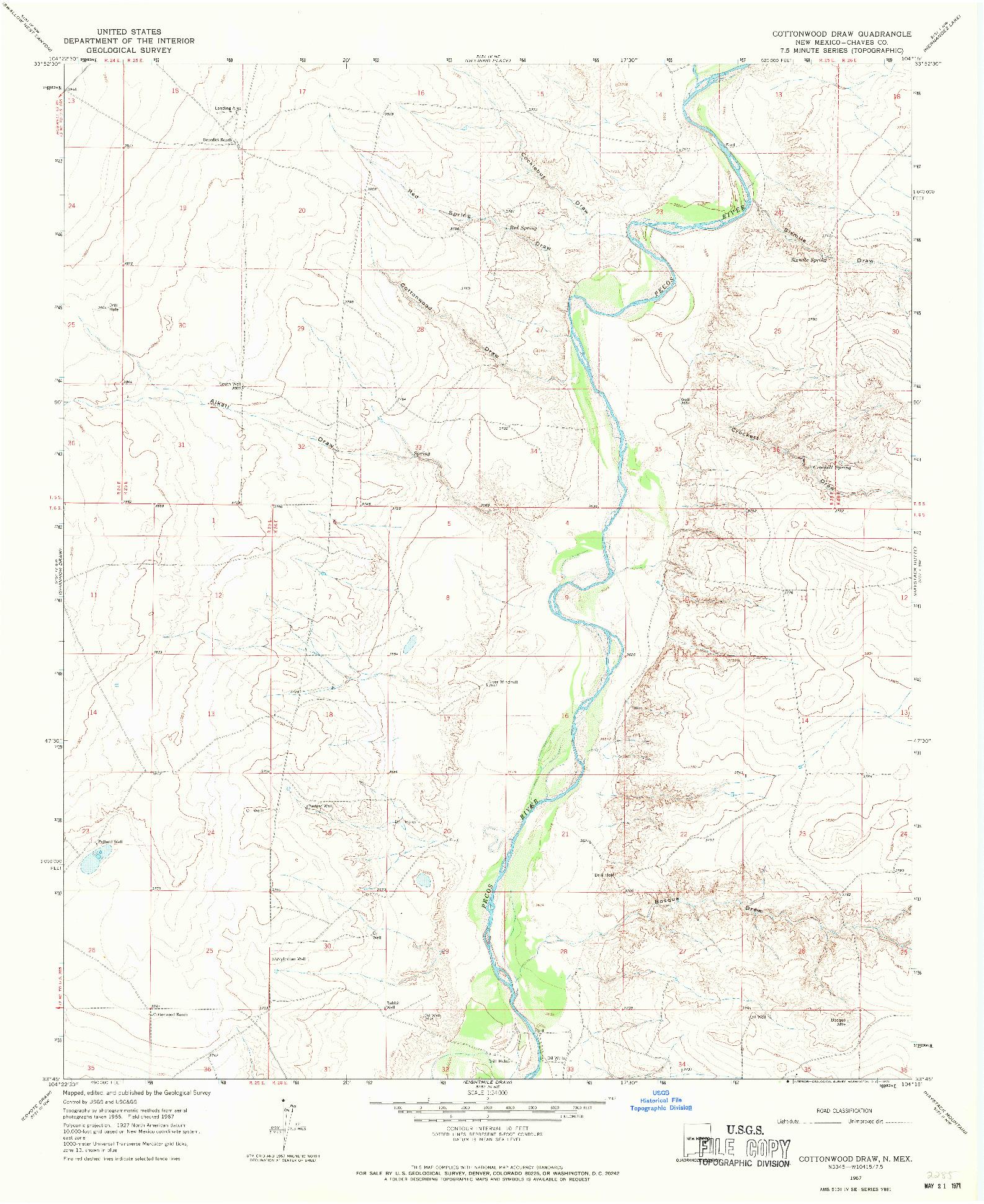 USGS 1:24000-SCALE QUADRANGLE FOR COTTONWOOD DRAW, NM 1967