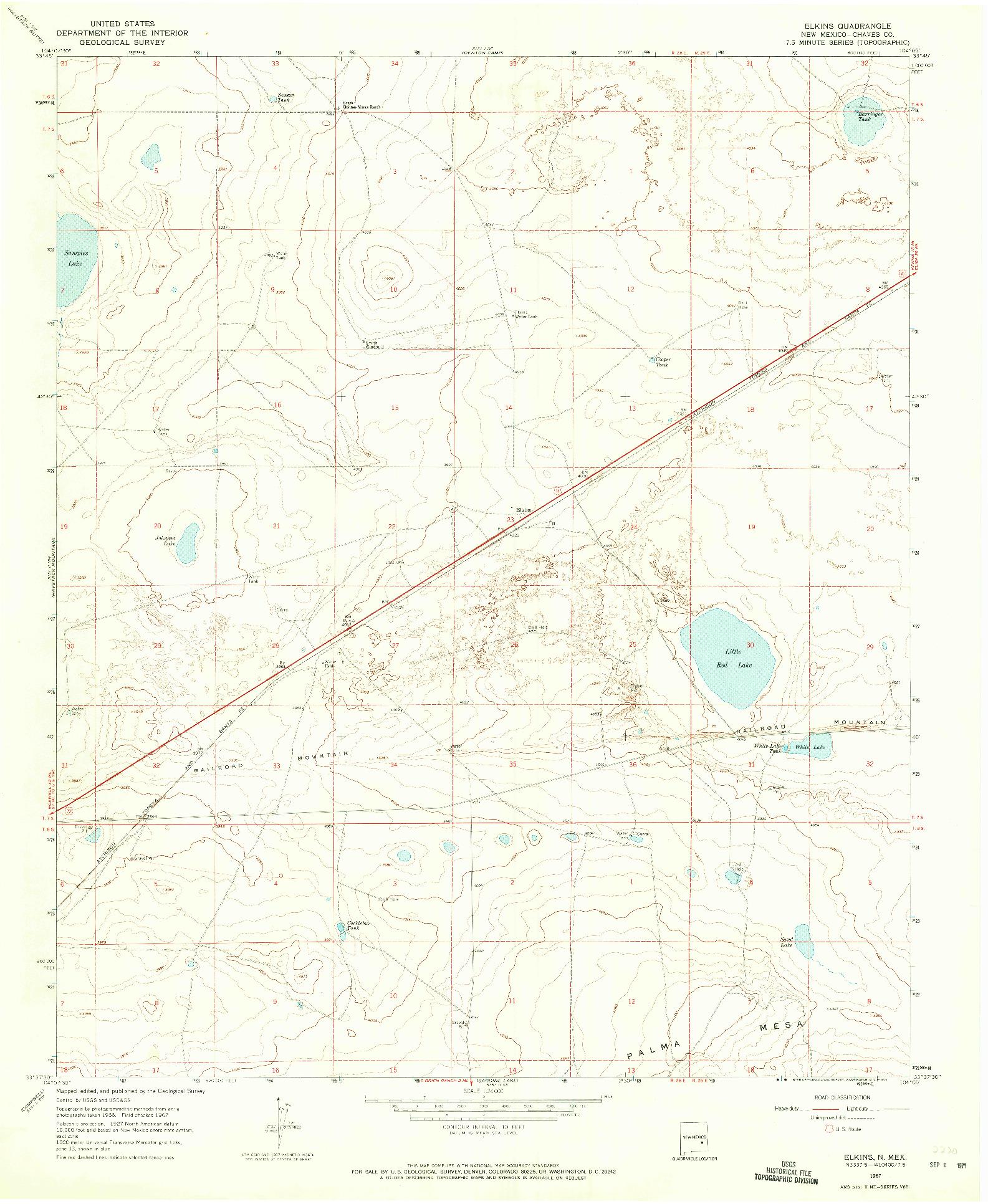 USGS 1:24000-SCALE QUADRANGLE FOR ELKINS, NM 1967