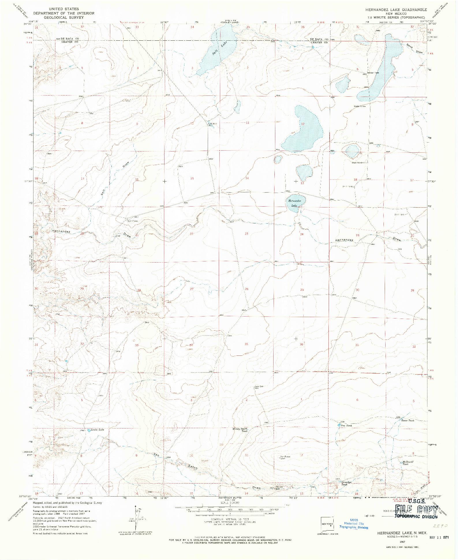 USGS 1:24000-SCALE QUADRANGLE FOR HERNANDEZ LAKE, NM 1967