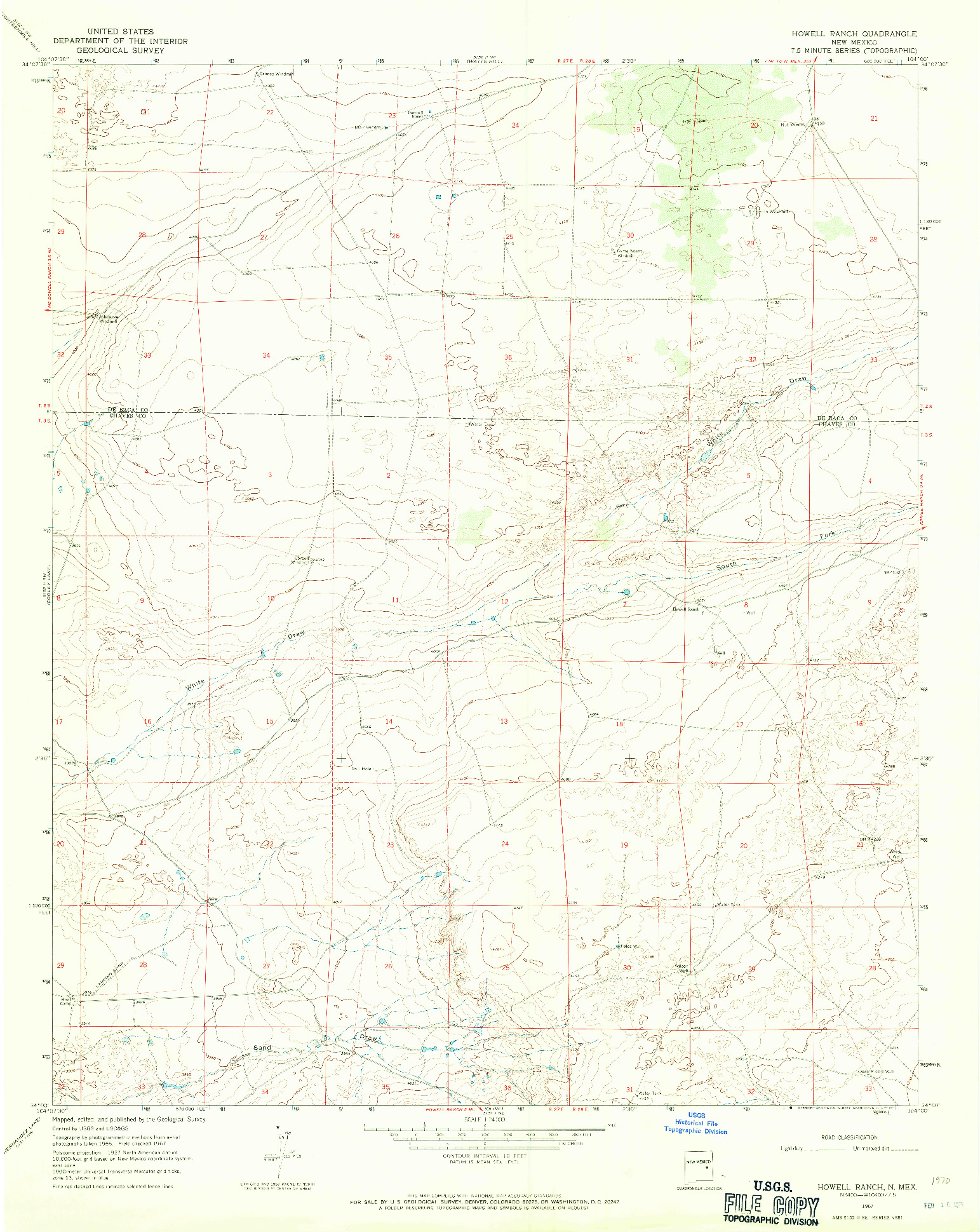 USGS 1:24000-SCALE QUADRANGLE FOR HOWELL RANCH, NM 1967