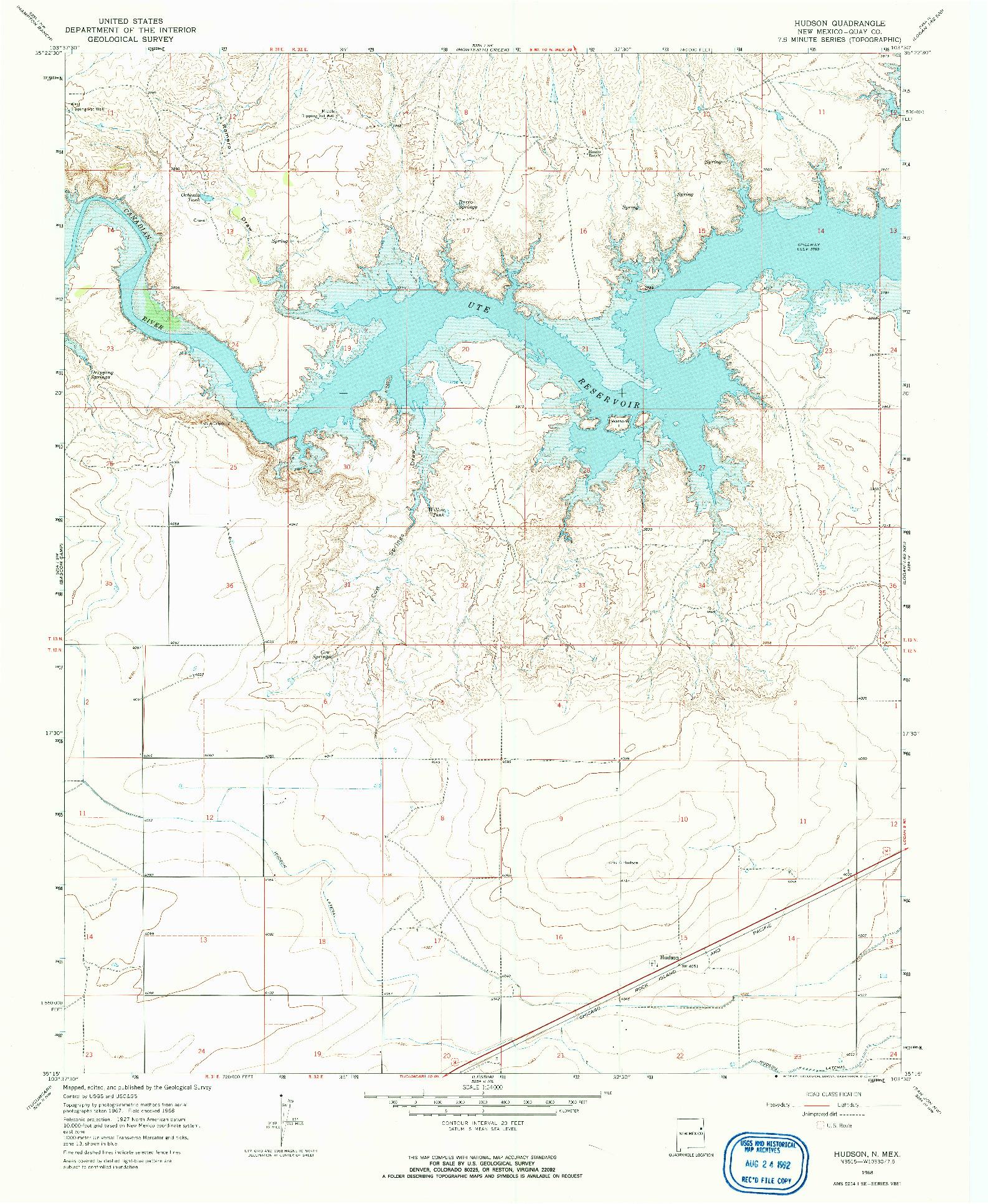 USGS 1:24000-SCALE QUADRANGLE FOR HUDSON, NM 1968