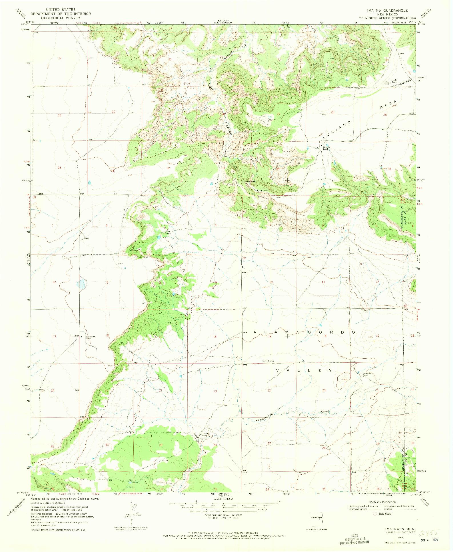 USGS 1:24000-SCALE QUADRANGLE FOR IMA NW, NM 1968