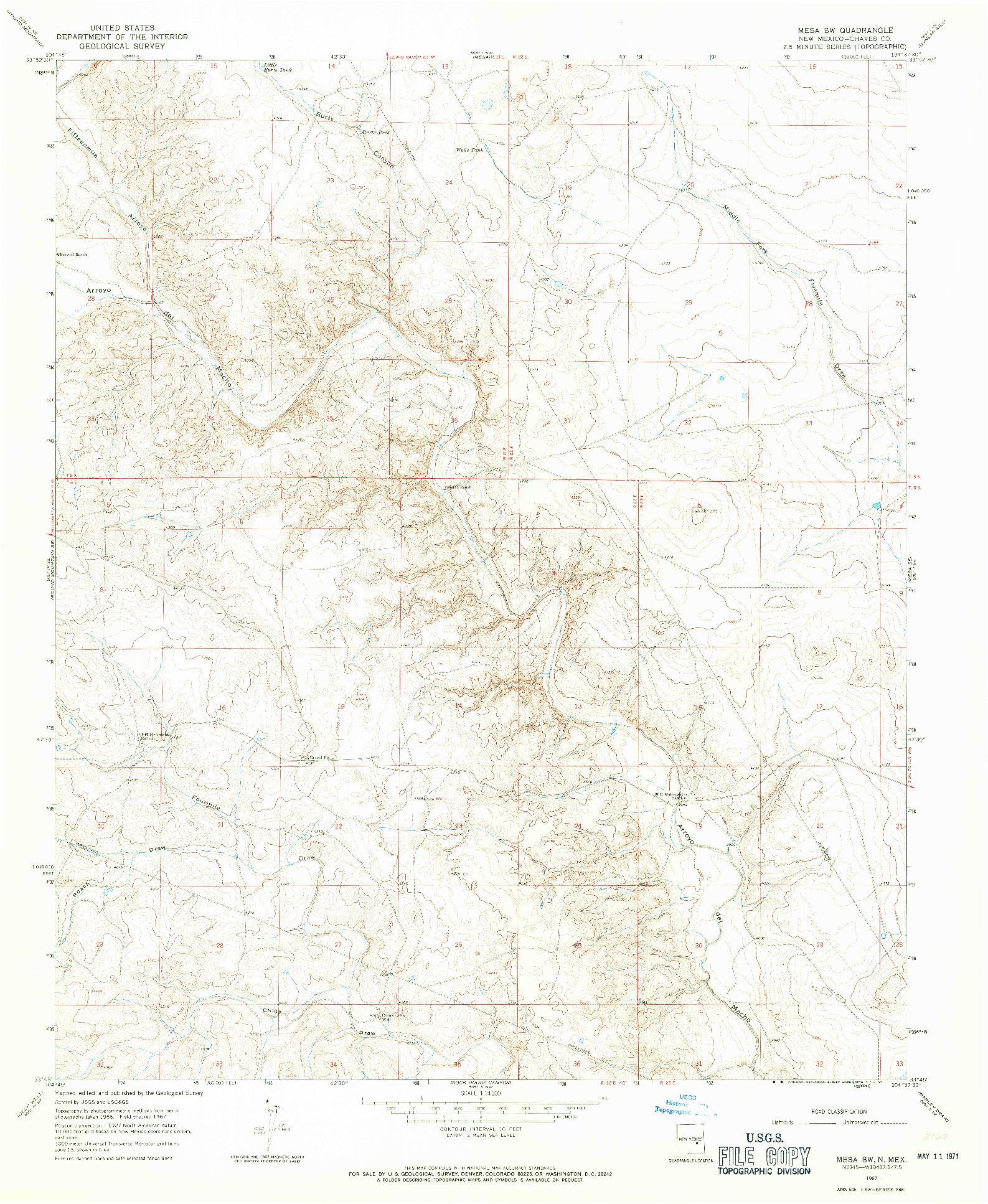 USGS 1:24000-SCALE QUADRANGLE FOR MESA SW, NM 1967