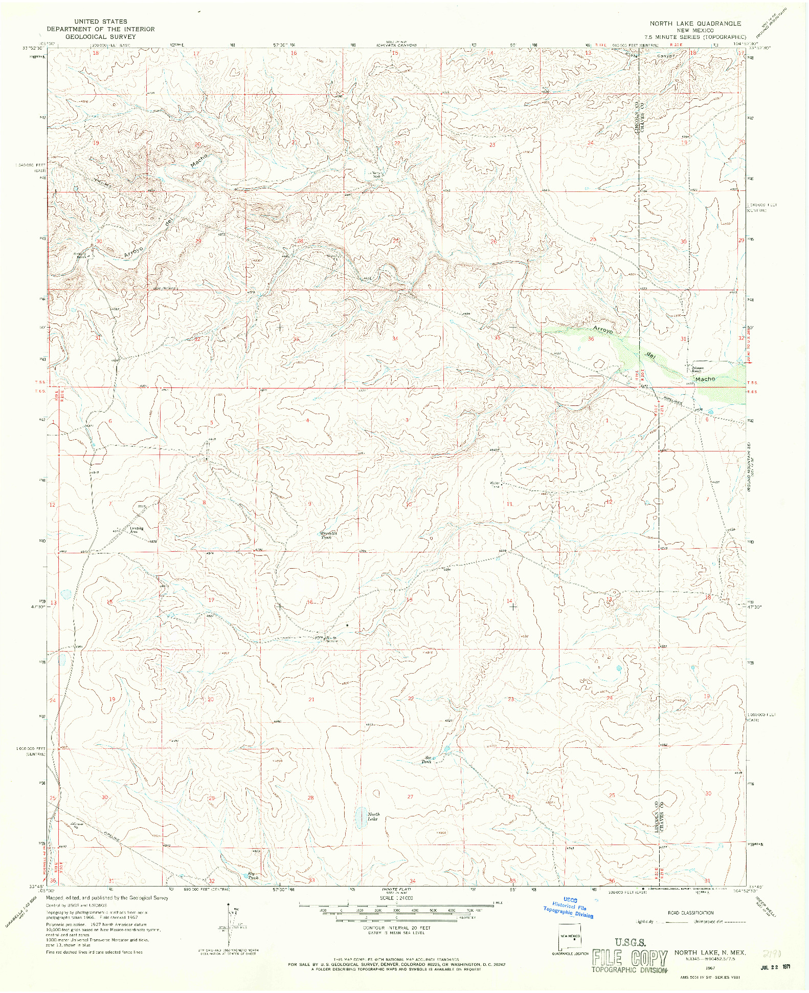 USGS 1:24000-SCALE QUADRANGLE FOR NORTH LAKE, NM 1967