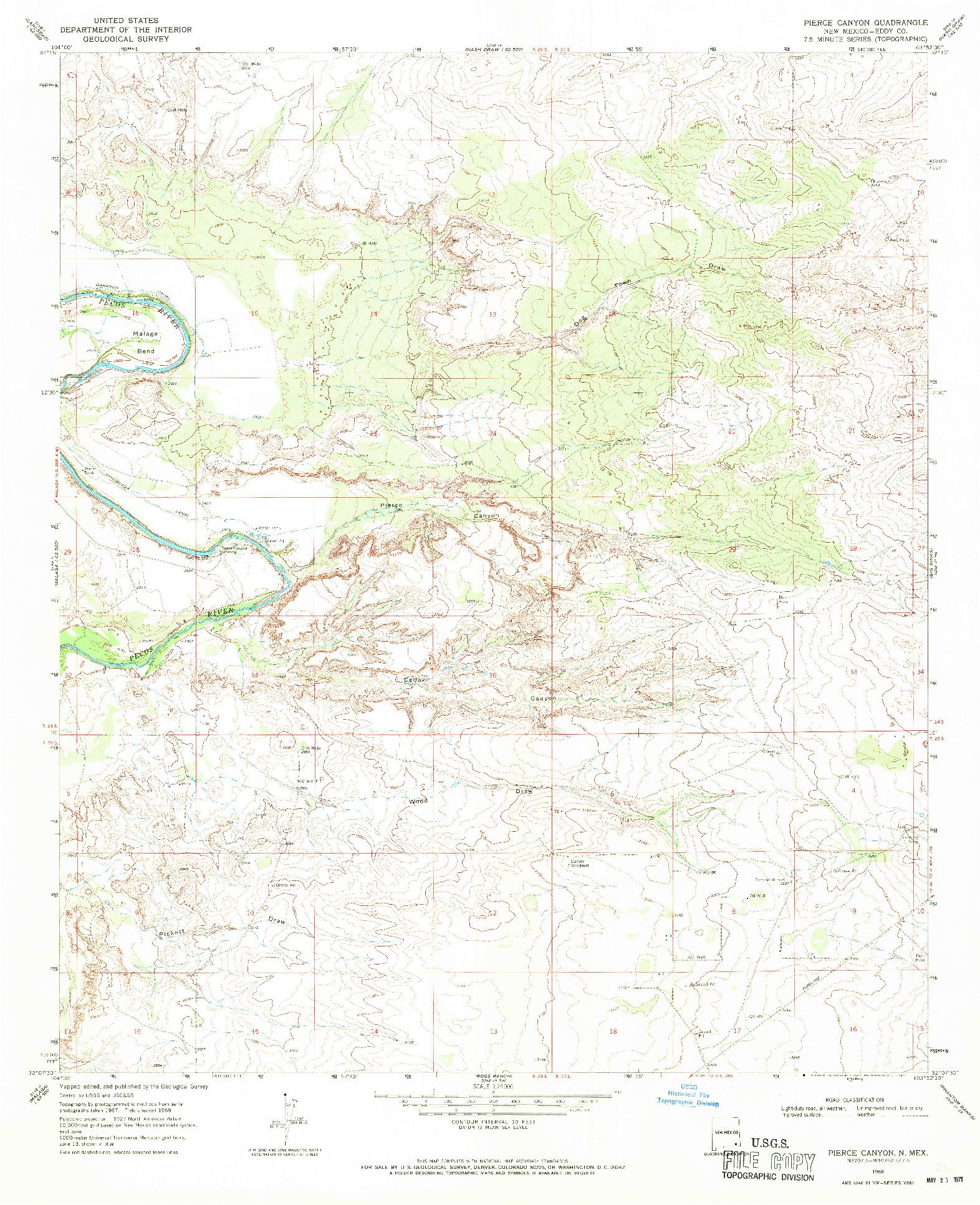 USGS 1:24000-SCALE QUADRANGLE FOR PIERCE CANYON, NM 1968