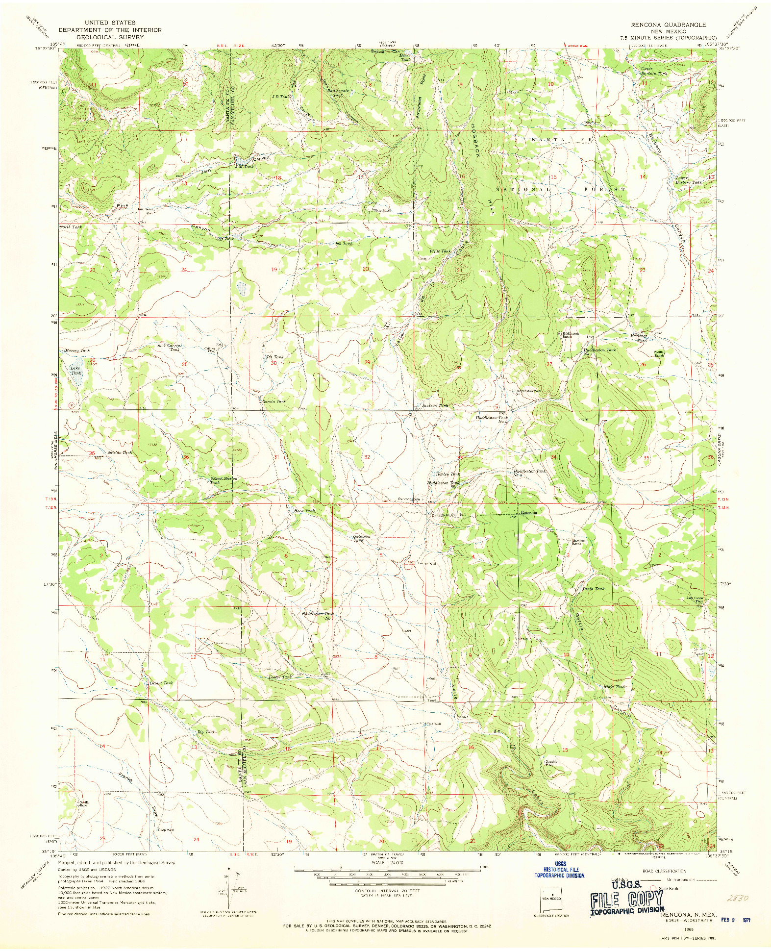 USGS 1:24000-SCALE QUADRANGLE FOR RENCONA, NM 1966
