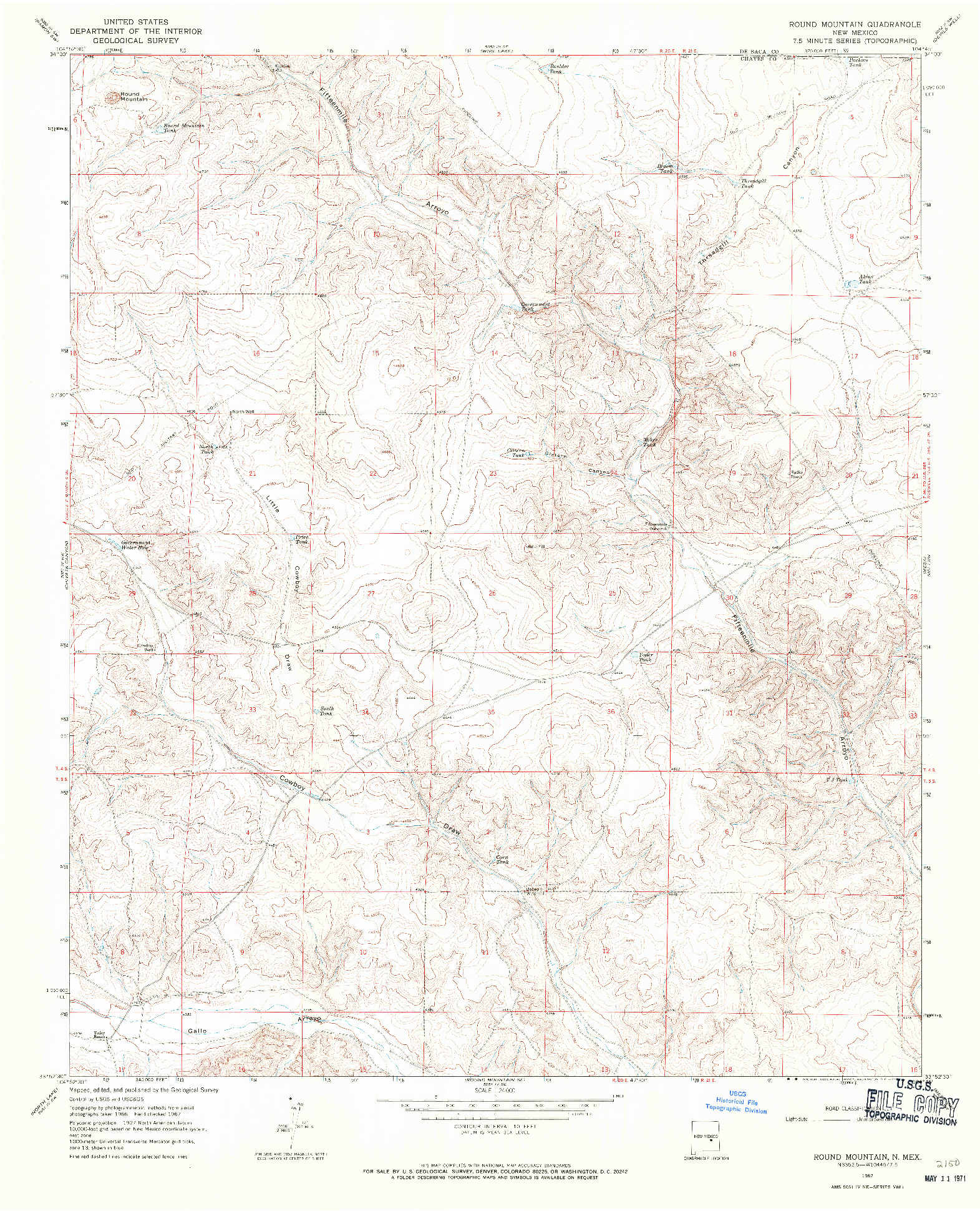 USGS 1:24000-SCALE QUADRANGLE FOR ROUND MOUNTAIN, NM 1967