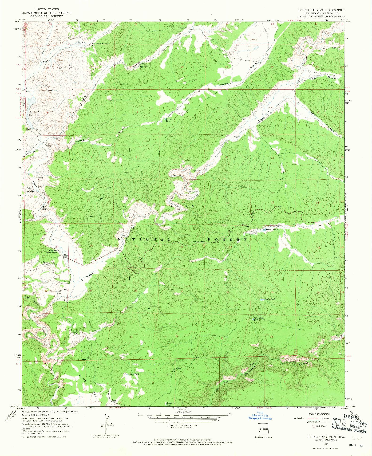 USGS 1:24000-SCALE QUADRANGLE FOR SPRING CANYON, NM 1967