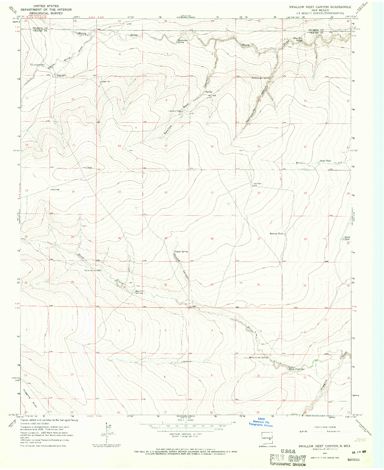 USGS 1:24000-SCALE QUADRANGLE FOR SWALLOW NEST CANYON, NM 1967