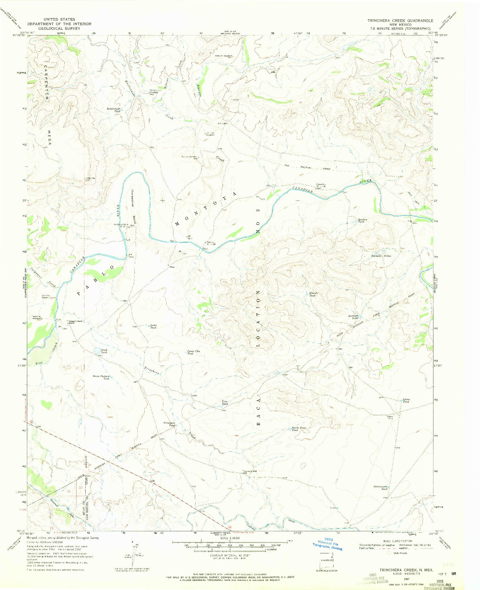 USGS 1:24000-SCALE QUADRANGLE FOR TRINCHERA CREEK, NM 1967