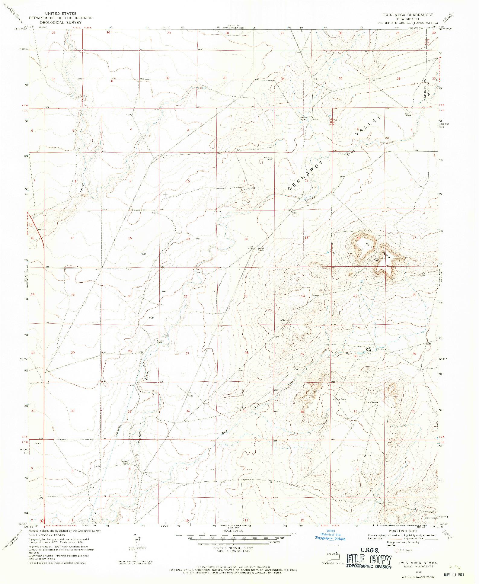 USGS 1:24000-SCALE QUADRANGLE FOR TWIN MESA, NM 1968